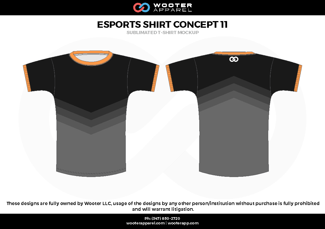 ESPORTS SHIRT CONCEPT11 black orange e-sports jerseys, shirts, uniforms