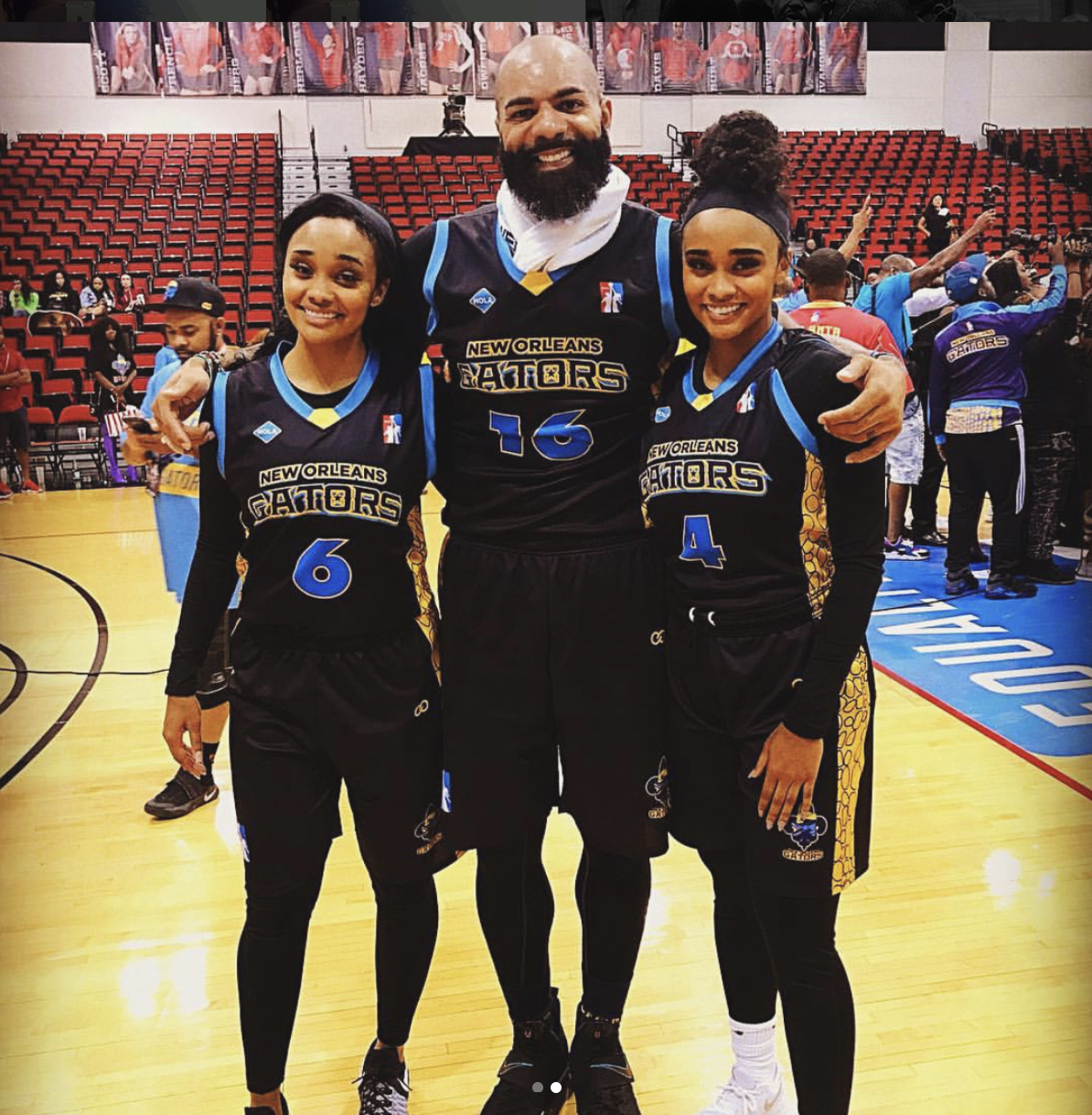 Carlos boozer with the Gonzalez Twins rocking Wooter Apparel uniforms in Las Vegas at the launch of the Global Mixed Gender Basketball League