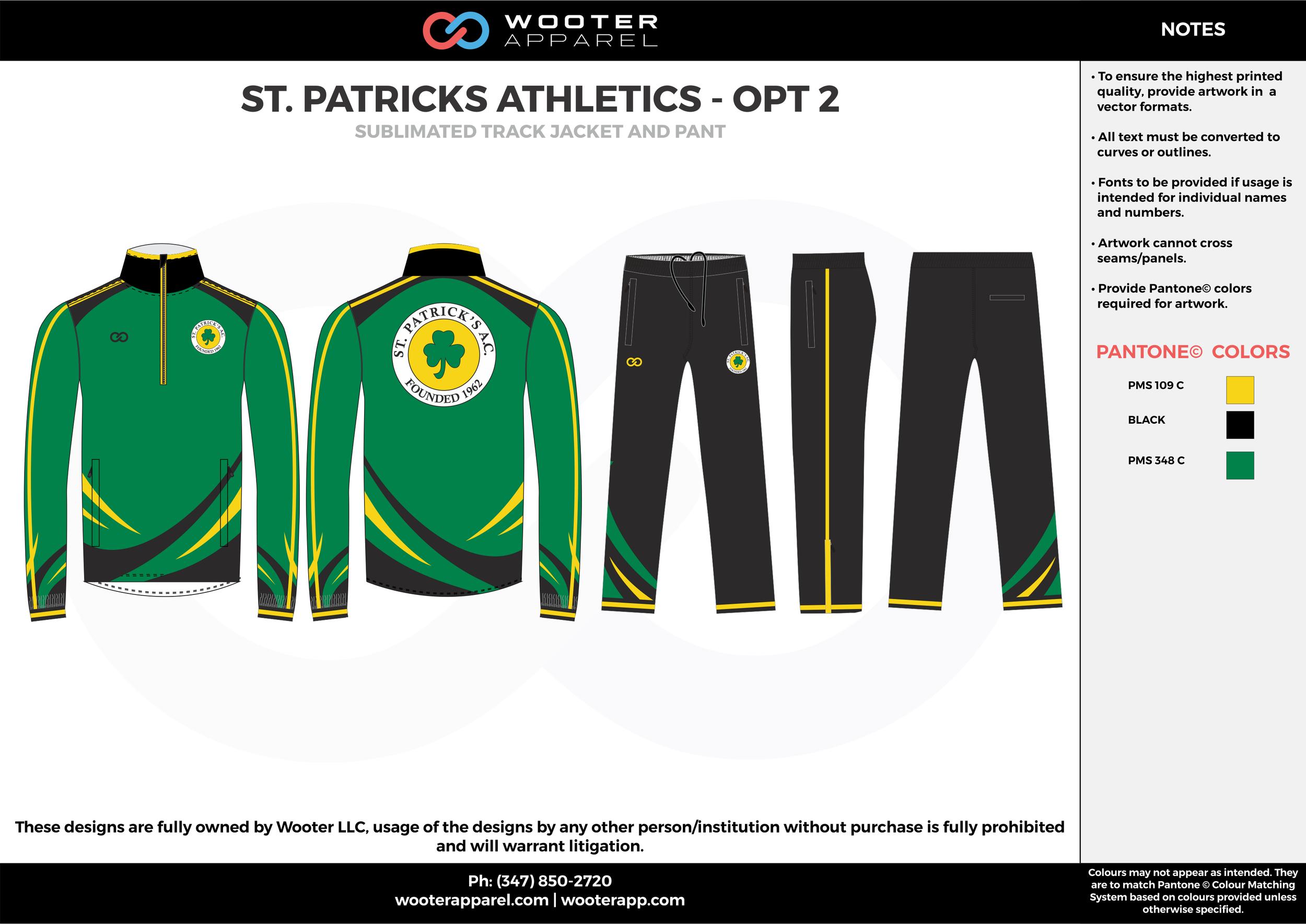 ST. PATRICKS ATHLETICS - OPT 2 green yellow black  Track Jacket, Track Pants, Tracksuit, Warmup Suit