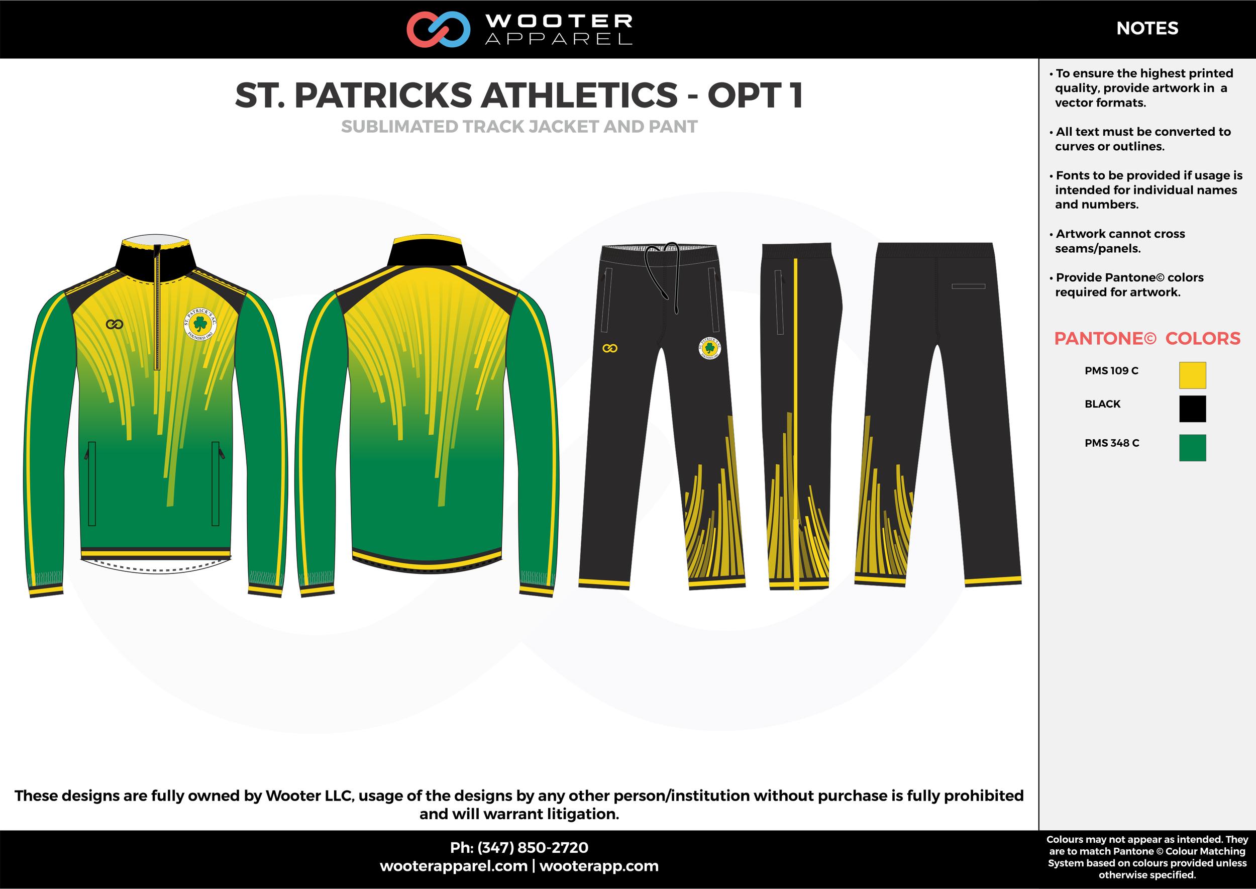 ST. PATRICKS ATHLETICS - OPT1  green yellow black track Jacket, Track Pants, Tracksuit, Warmup Suit