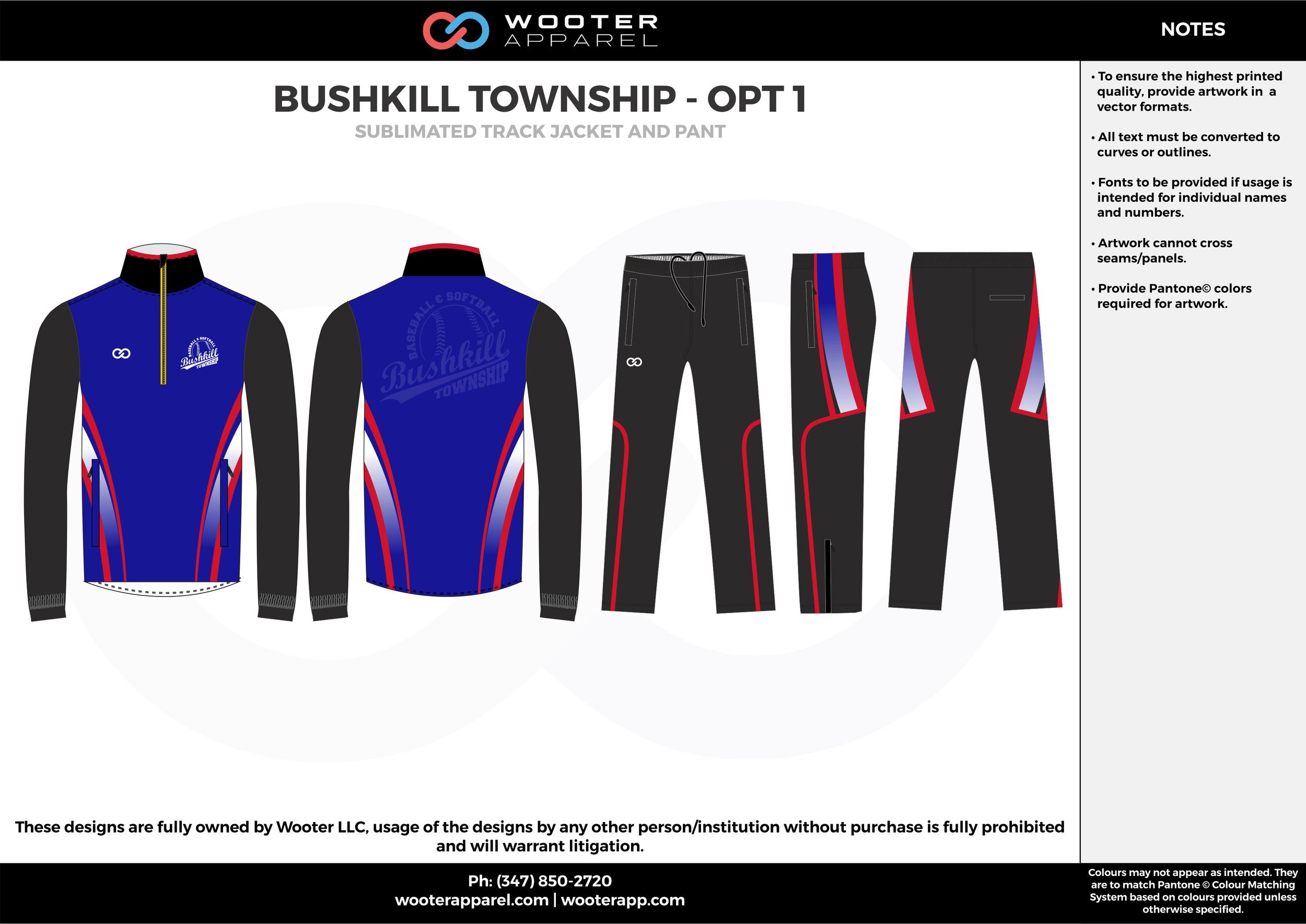 BUSHKILL TOWNSHIP - OPT 1 blue red black Track Jacket, Track Pants, Tracksuit, Warmup Suit