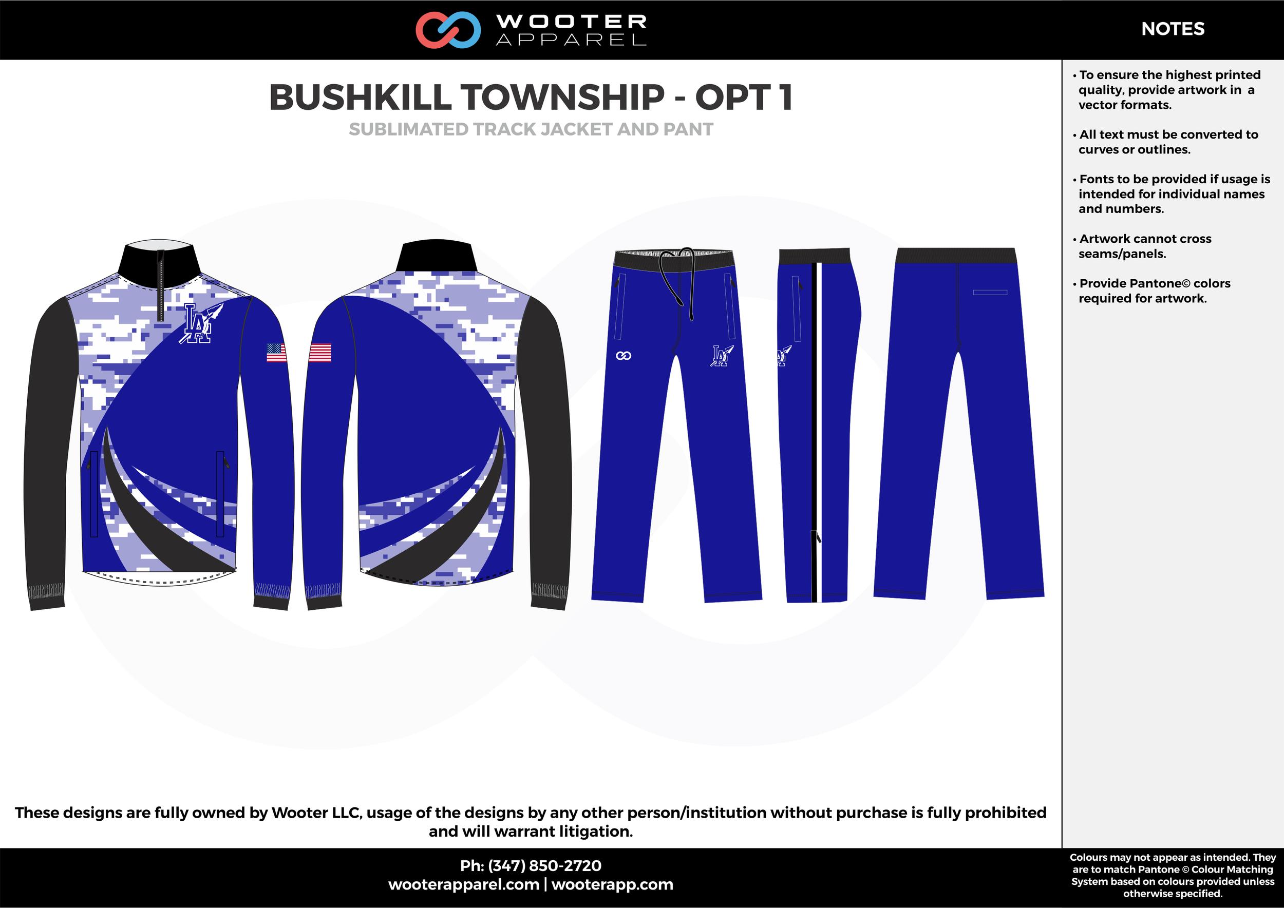 BUSHKILL TOWNSHIP - OPT 1 black blue white  Track Jacket, Track Pants, Tracksuit, Warmup Suit