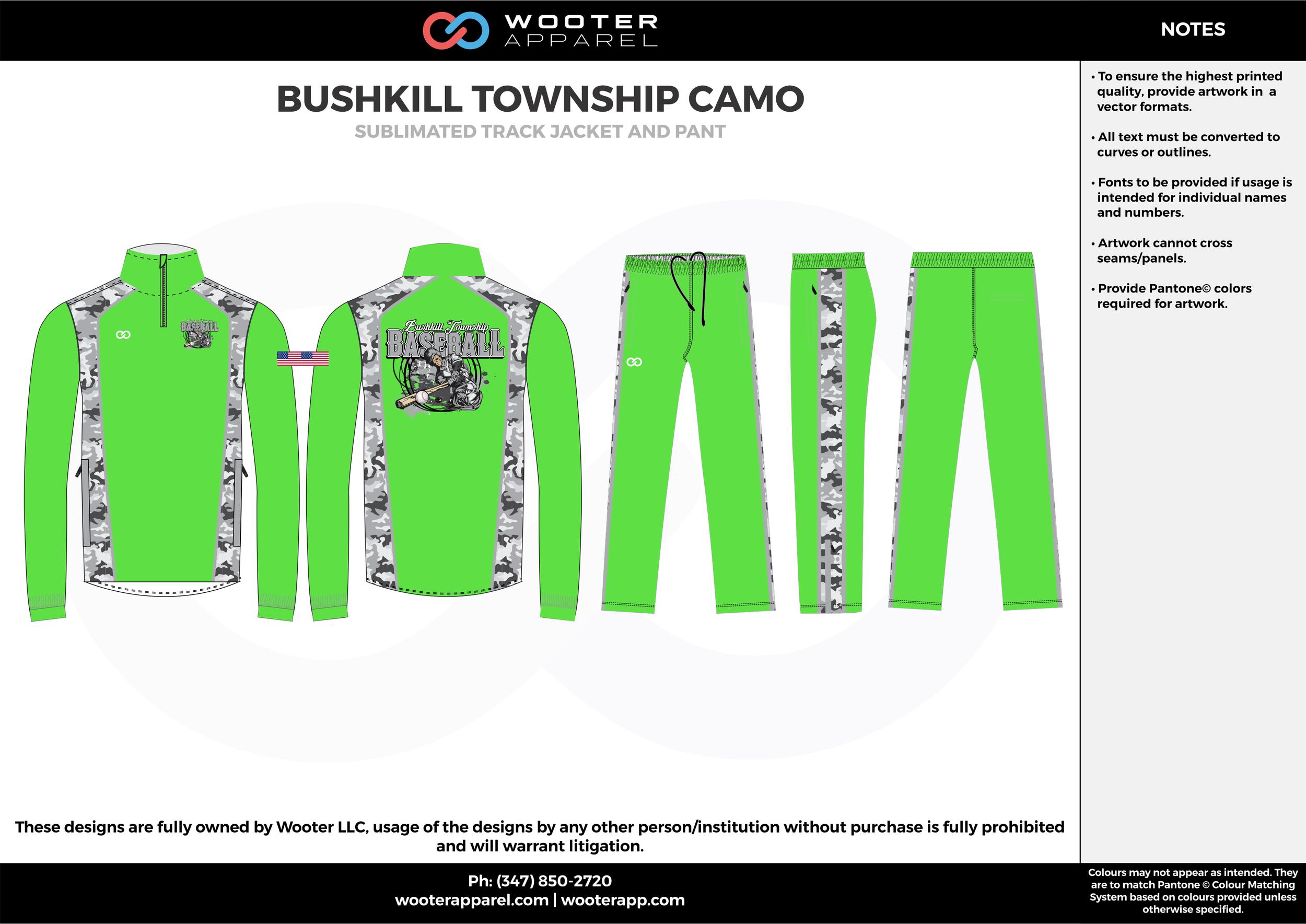 BUSHKILL TOWNSHIP CAMO green gray white  Track Jacket, Track Pants, Tracksuit, Warmup Suit