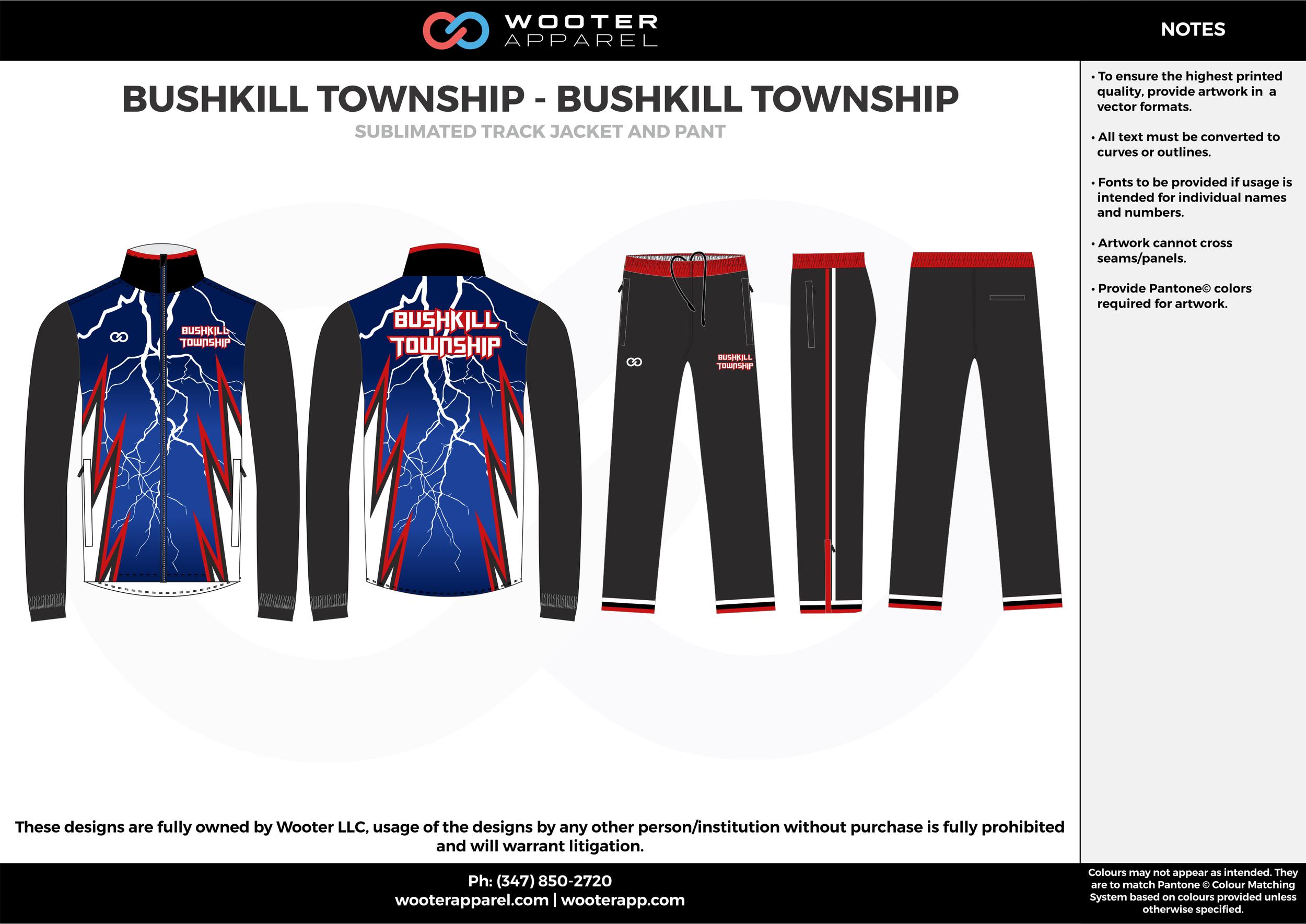 BUSHKILL TOWNSHIP - BUSHKILL TOWNSHIP blue black red white  Track Jacket, Track Pants, Tracksuit, Warmup Suit