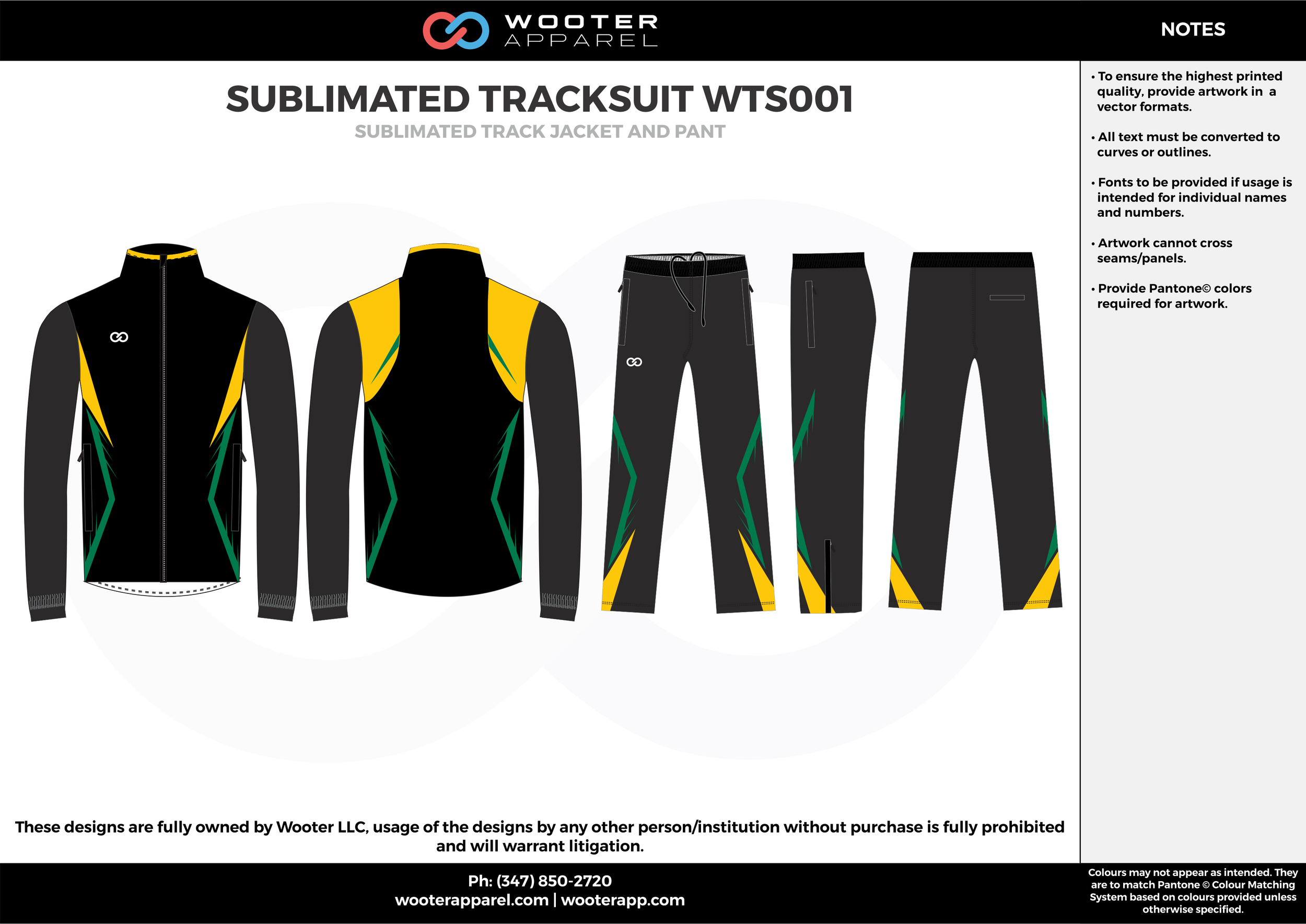 SUBLIMATED TRACKSUIT WTS001 black yellow green gray Track Jacket, Track Pants, Tracksuit, Warmup Suit