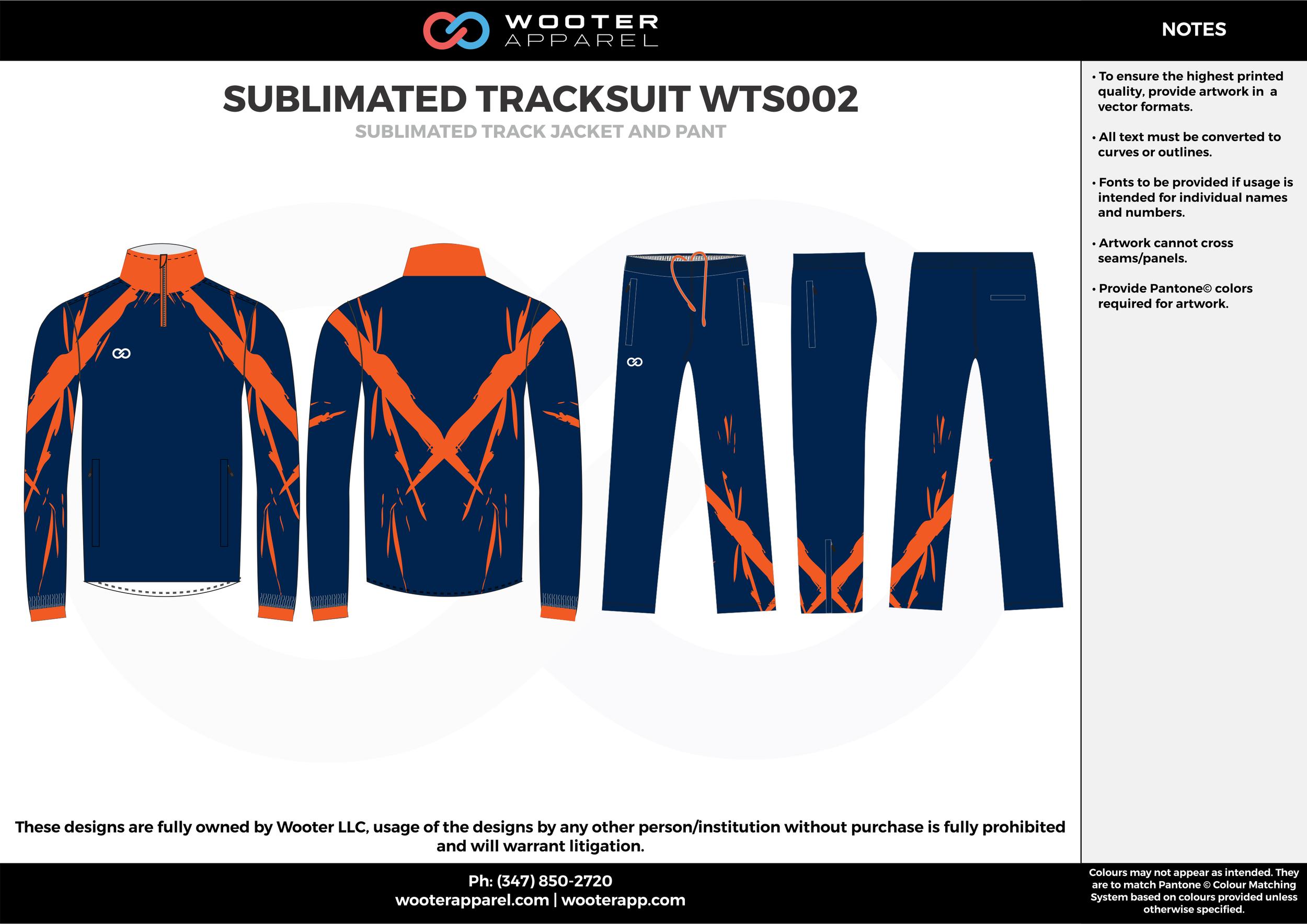 SUBLIMATED TRACKSUIT WTS002 navy blue orange  Track Jacket, Track Pants, Tracksuit, Warmup Suit