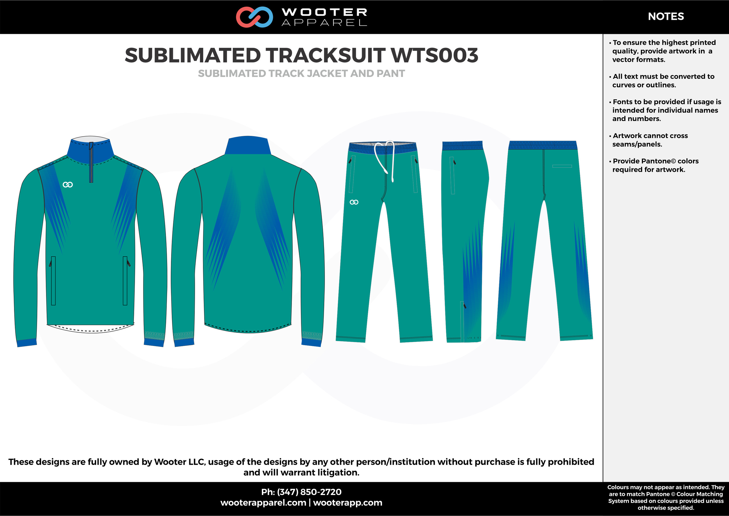 SUBLIMATED TRACKSUIT WTS003 water blue royal blue  Track Jacket, Track Pants, Tracksuit, Warmup Suit