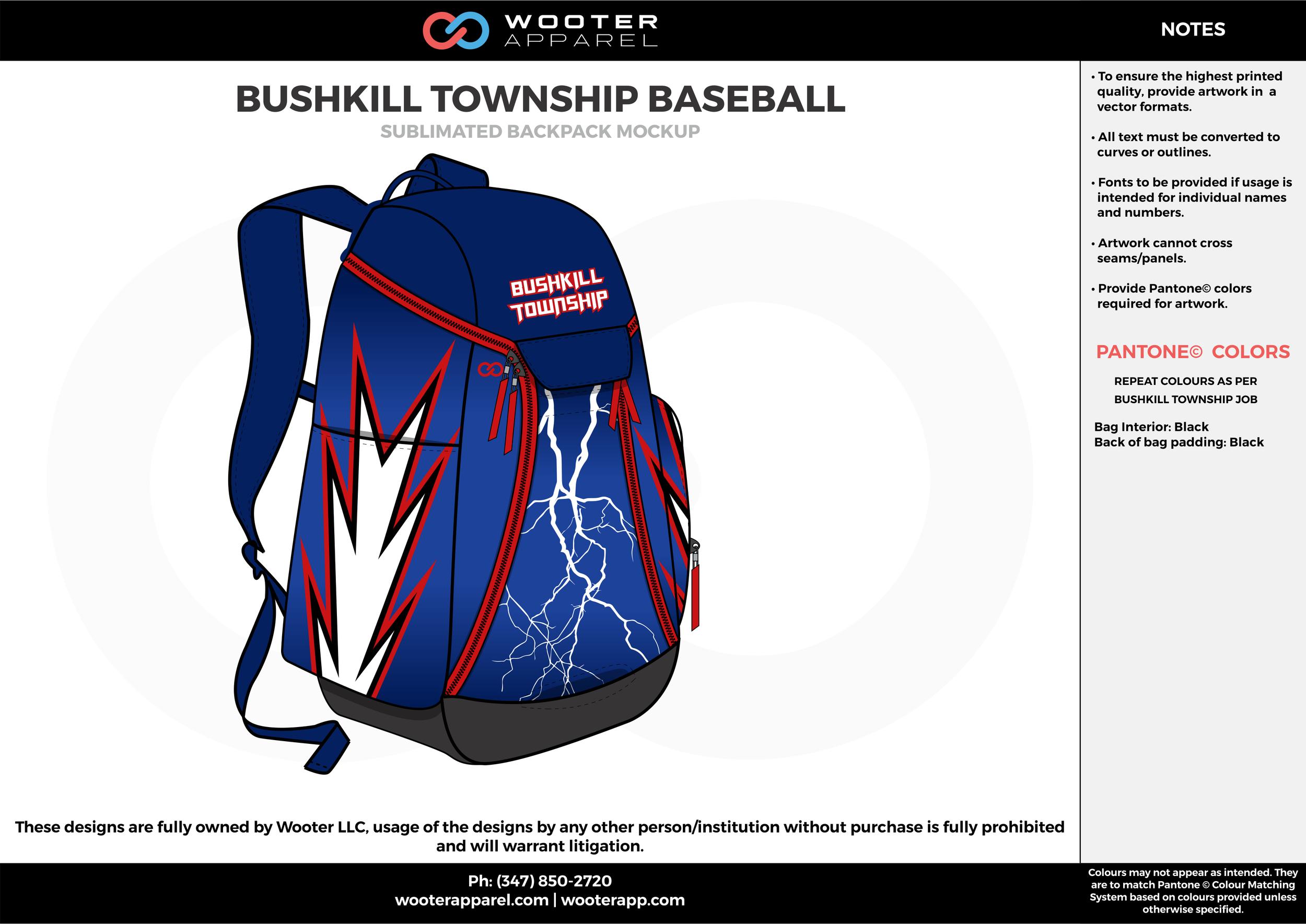 BUSHKILL TOWNSHIP BASEBALL blue red white gray  Custom Basketball Backpacks, Bags, Nike Elite Bags