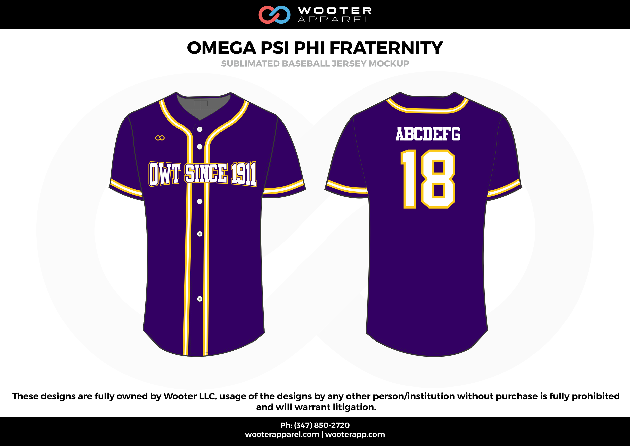 OMEGA PSI PHI FRATERNITY purple white gold Baseball uniforms jerseys shirts
