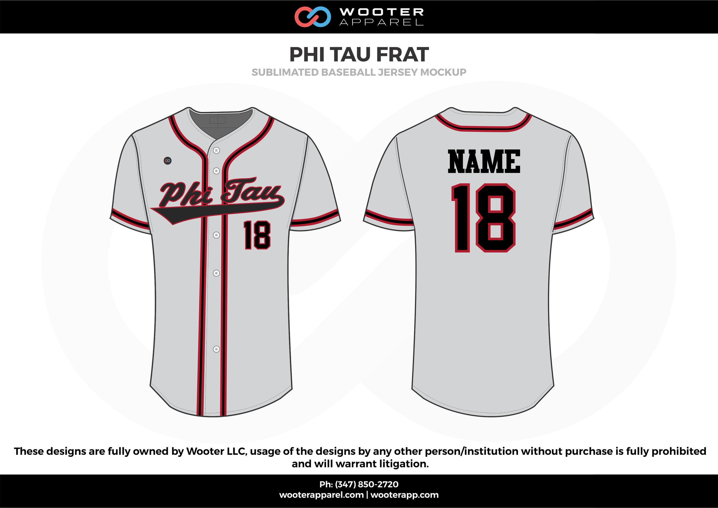 PHI TAU FRAT white red black Baseball uniforms jerseys shirts