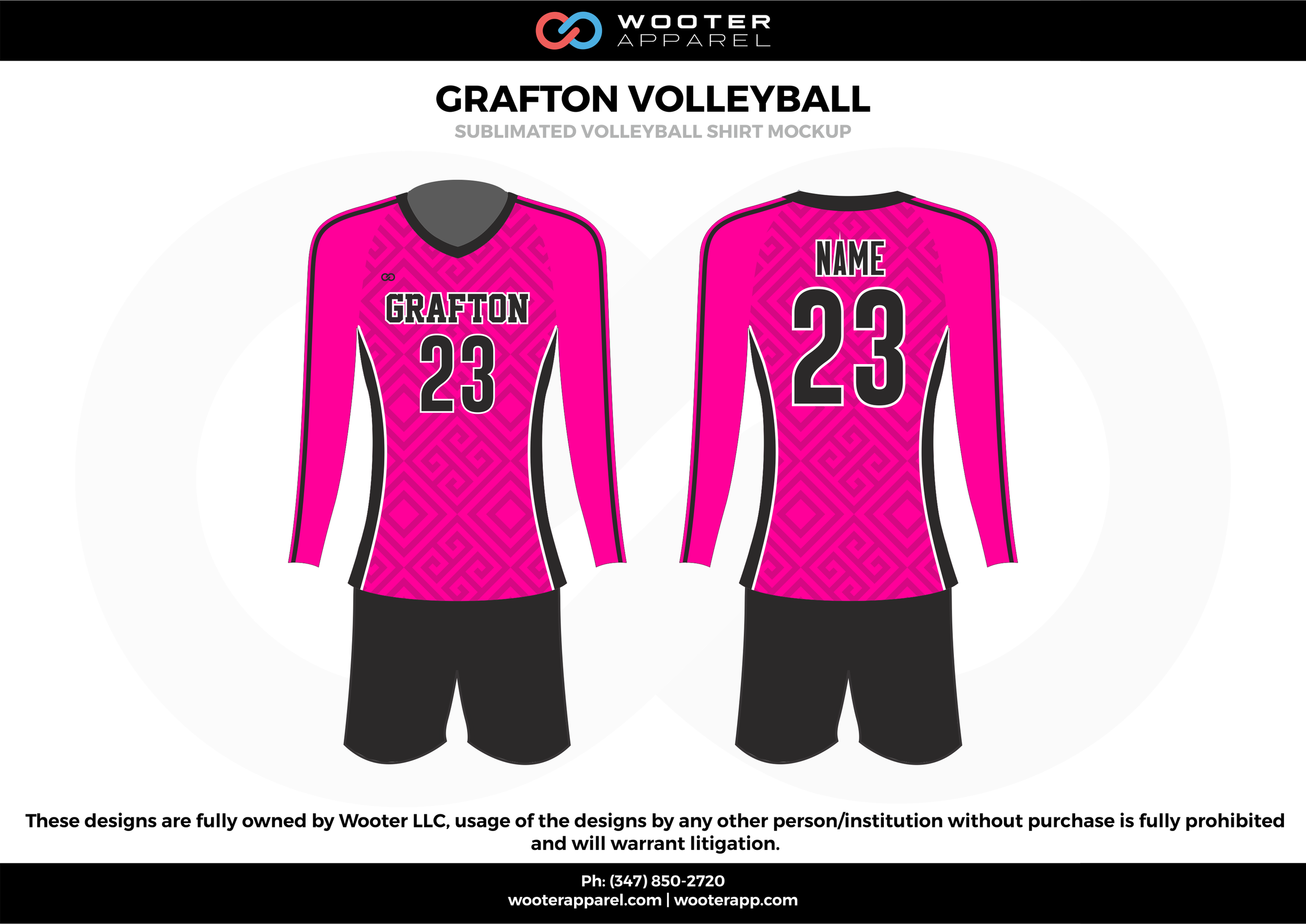 GRAFTON VOLLEYBALL pink black gray Volleyball Uniforms, Long sleeve Jerseys, Shorts
