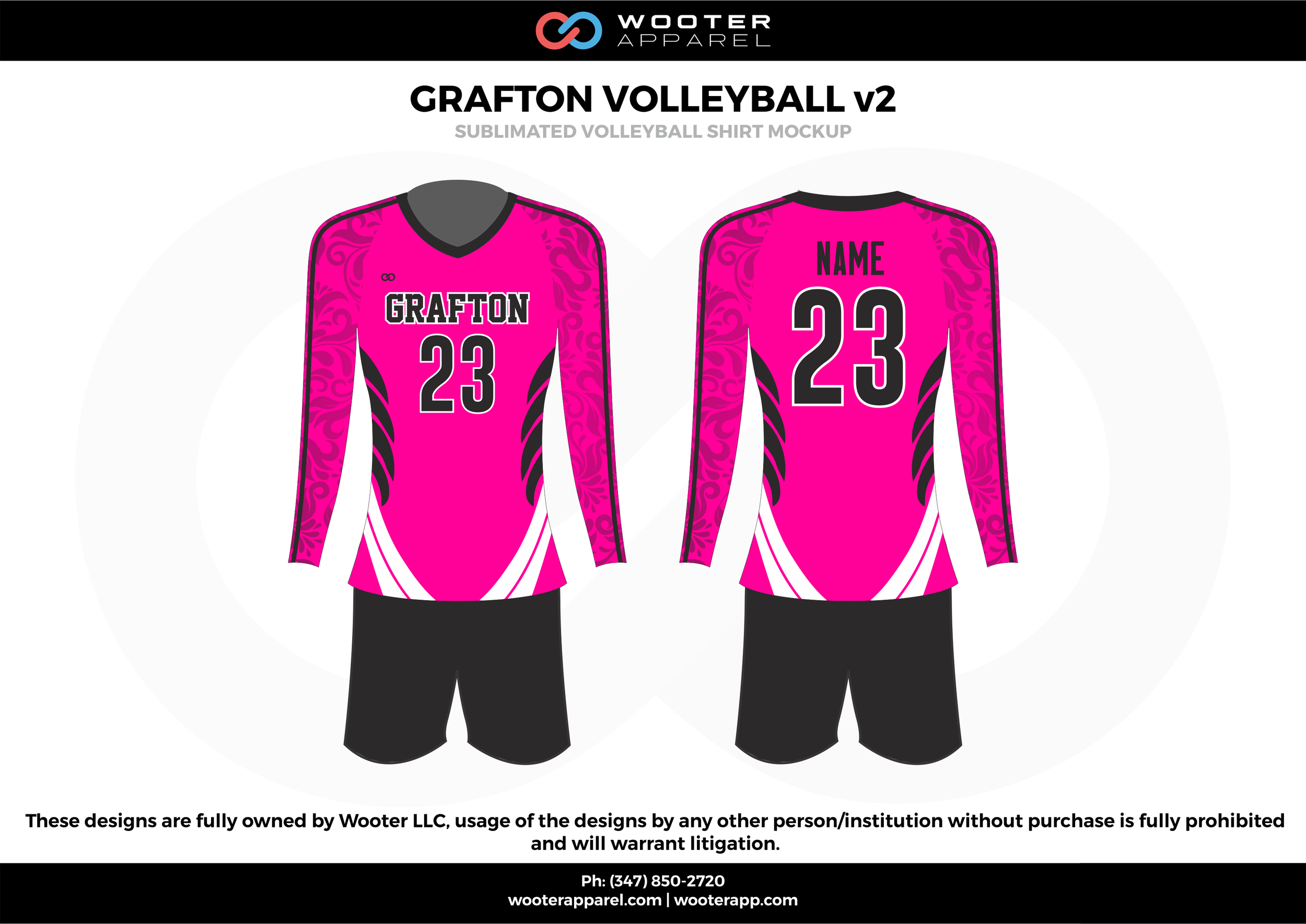GRAFTON VOLLEYBALL v2  pink white black gray Volleyball Uniforms, Long sleeve Jerseys, Shorts