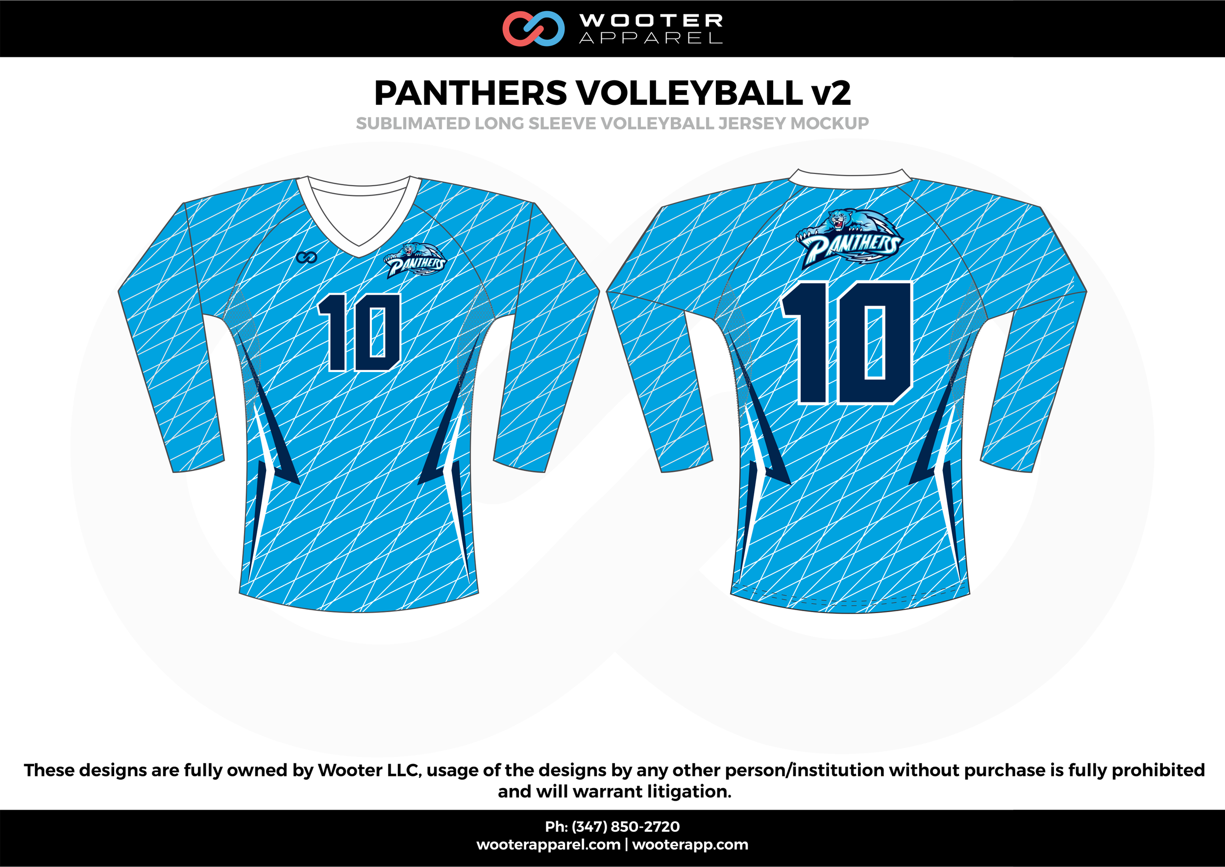 PANTHERS VOLLEYBALL v2 sky navy blue white Volleyball Uniforms, Long Sleeve Jerseys