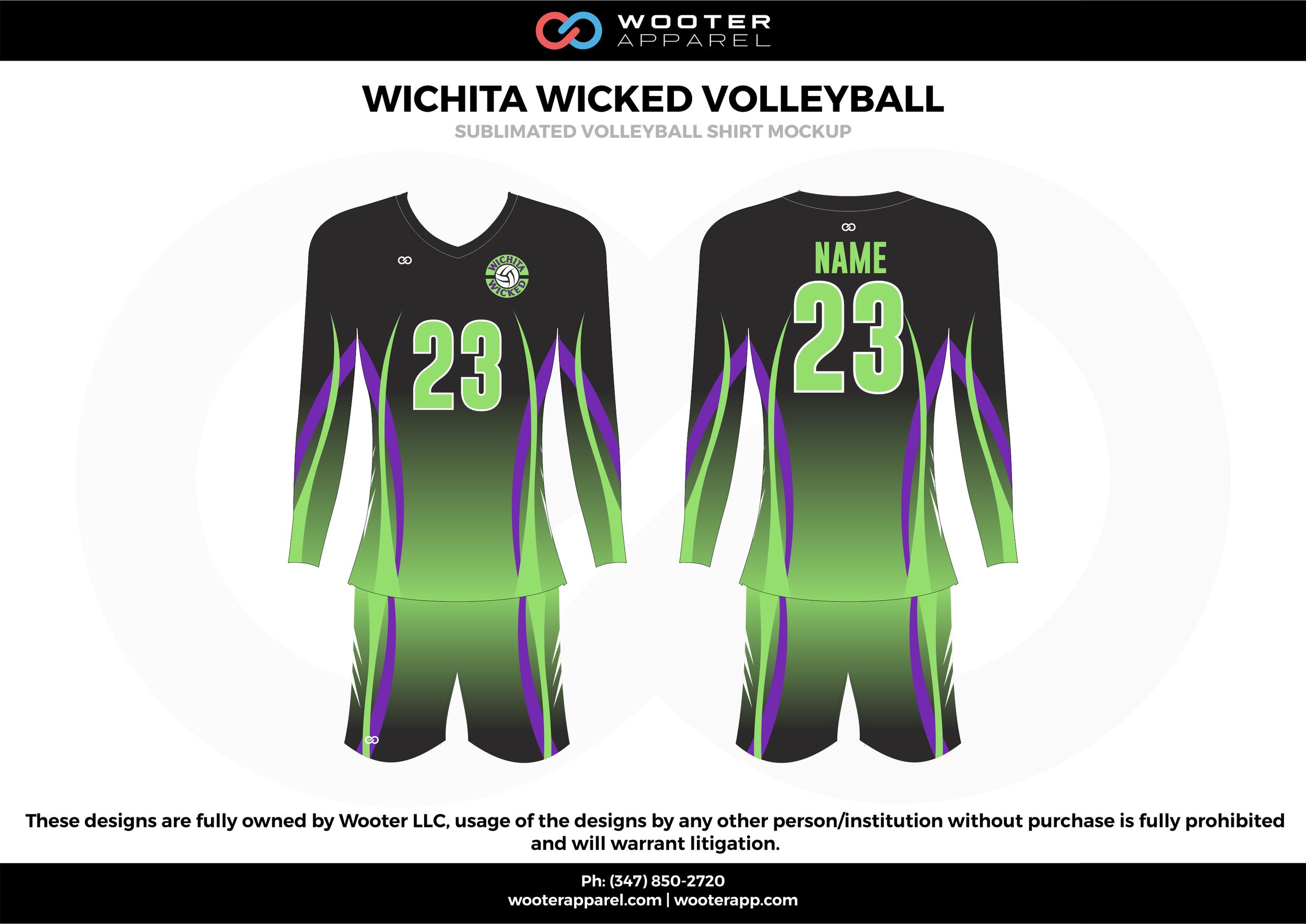 WICHITA WICKED VOLLEYBALL green purple black Volleyball Uniforms, Long Sleeve Jerseys, Shorts