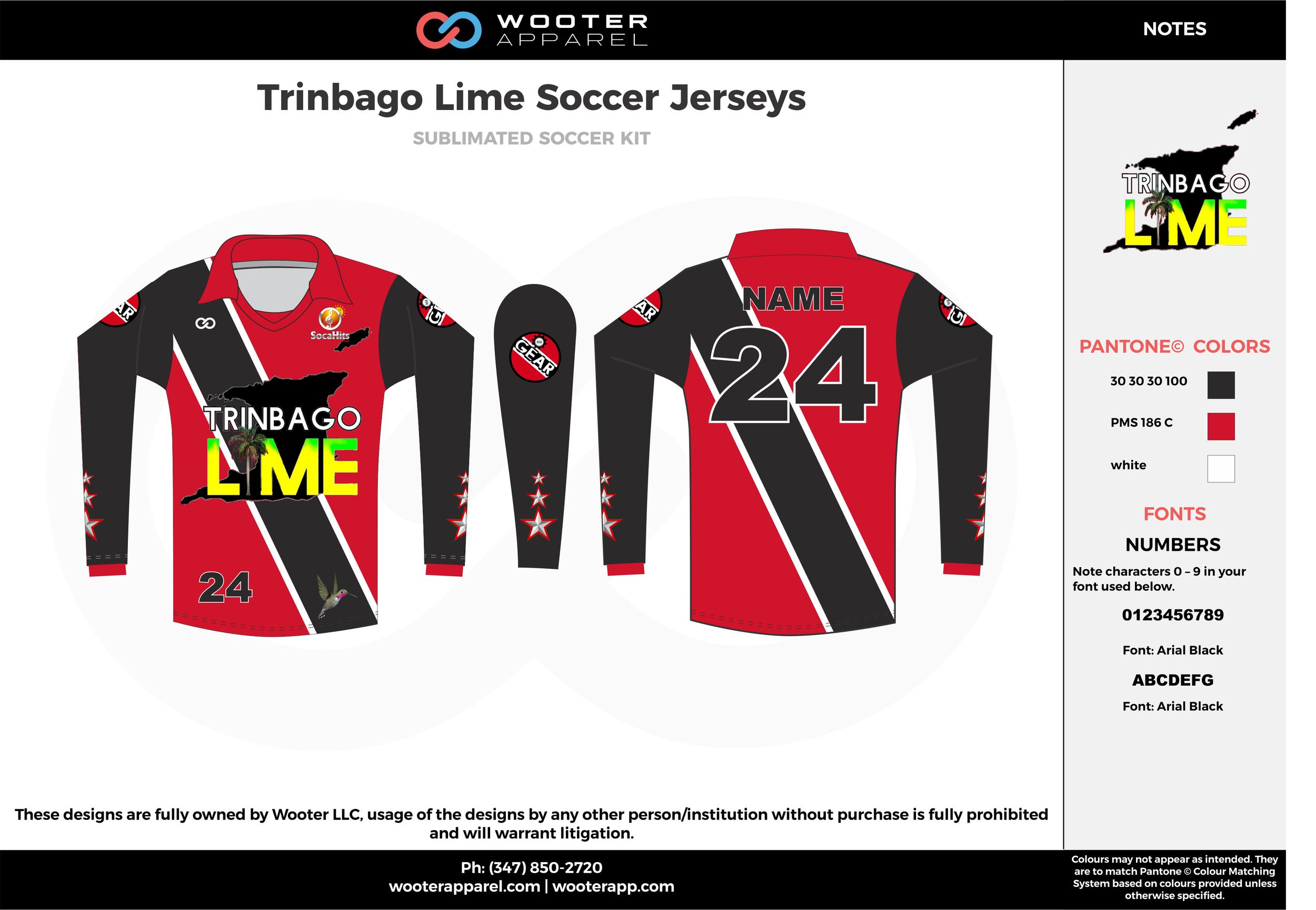 Trinbago lime black red custom sublimated soccer uniform jersey shirt