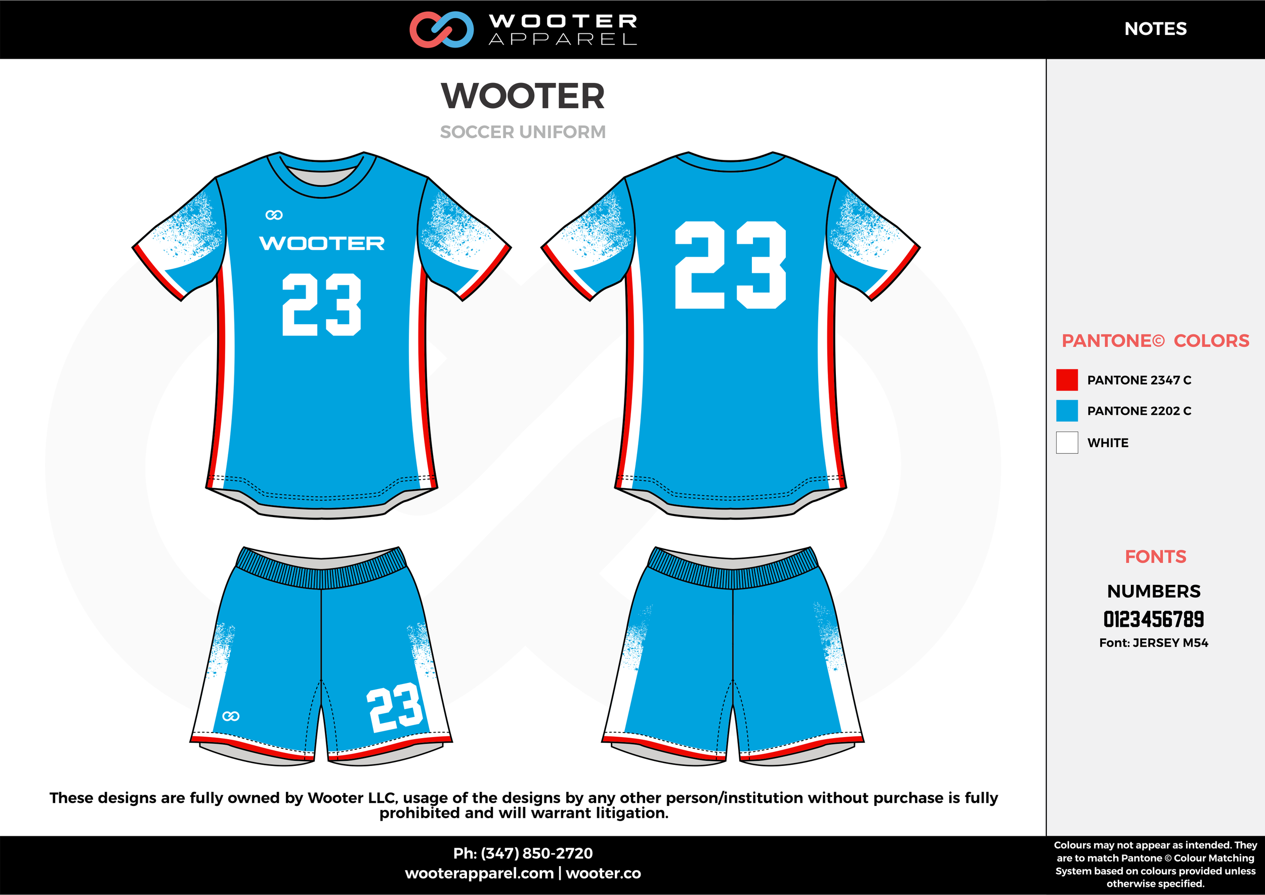 Wooter red blue white custom sublimated soccer uniform jersey shirt shorts