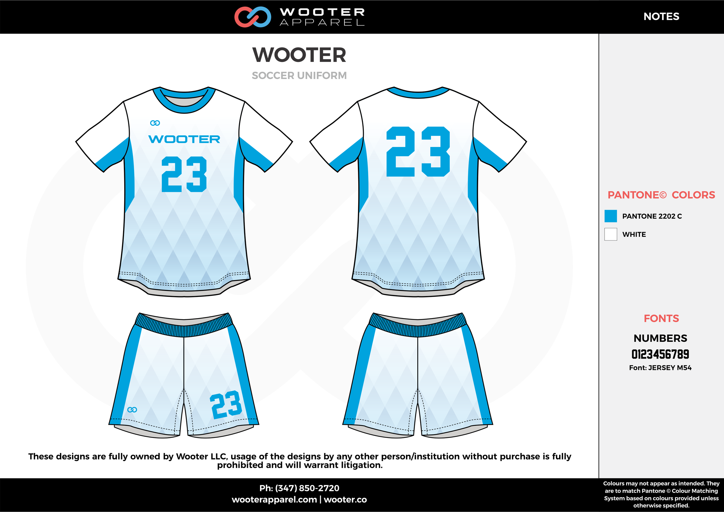 Wooter blue white custom sublimated soccer uniform jersey shirt shorts
