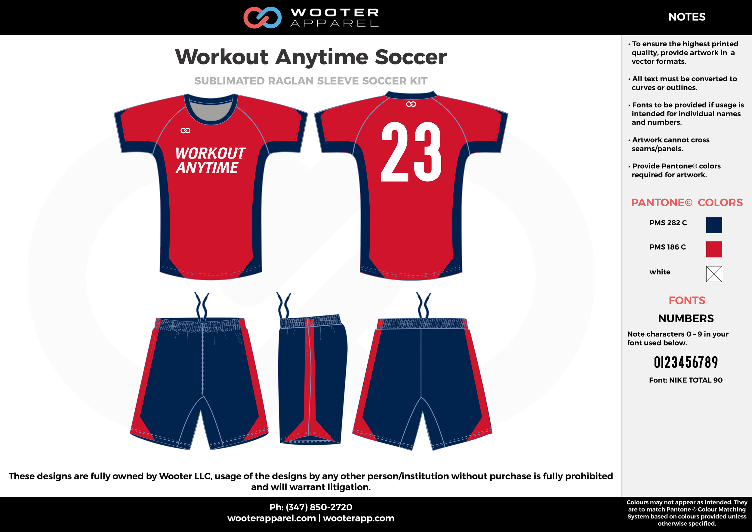 Workout Anytime Soccer royal blue red custom sublimated soccer uniform jersey shirt shorts