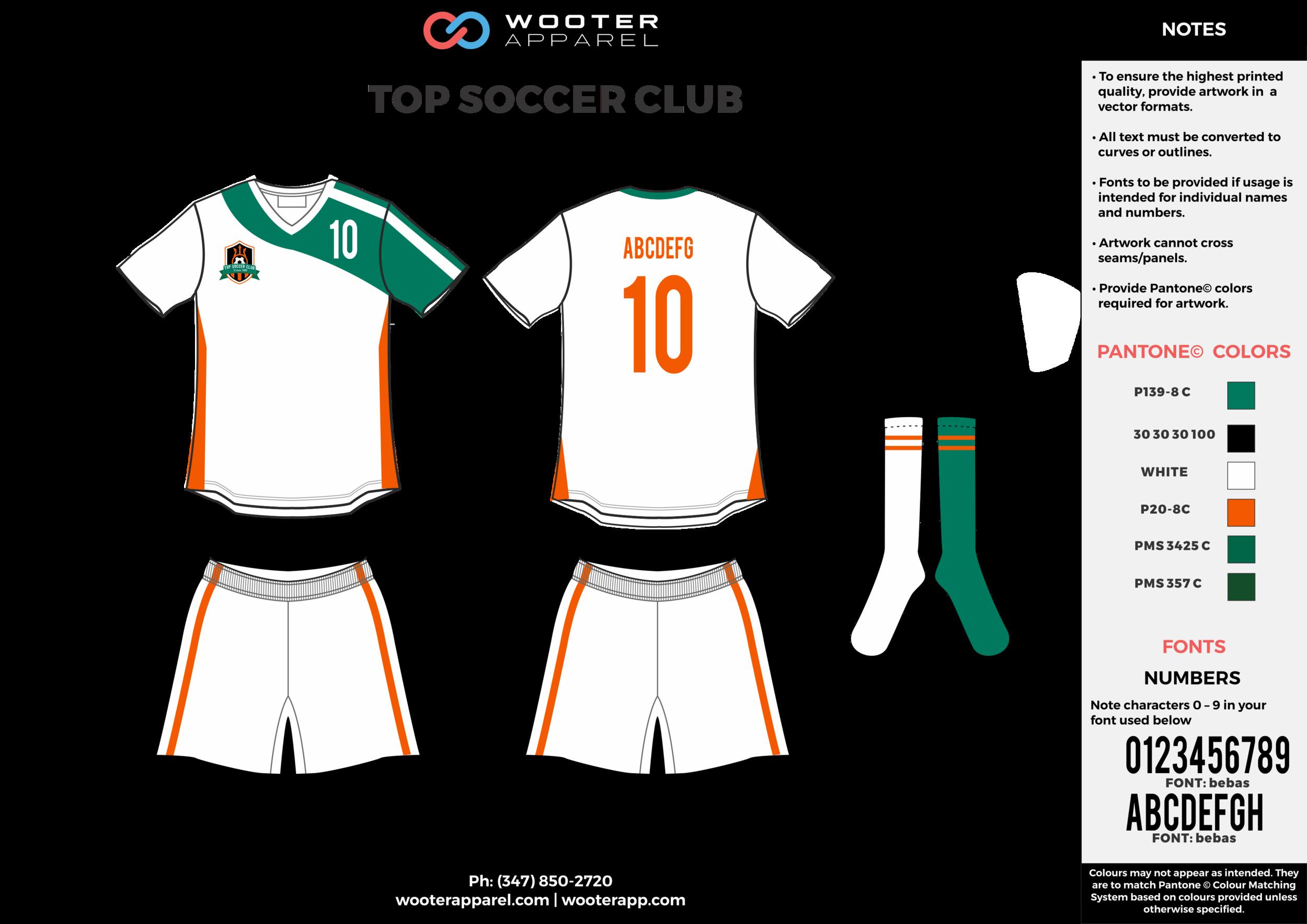 TOP SOCCER CLUB green white orange custom sublimated soccer uniform jersey shirt shorts socks