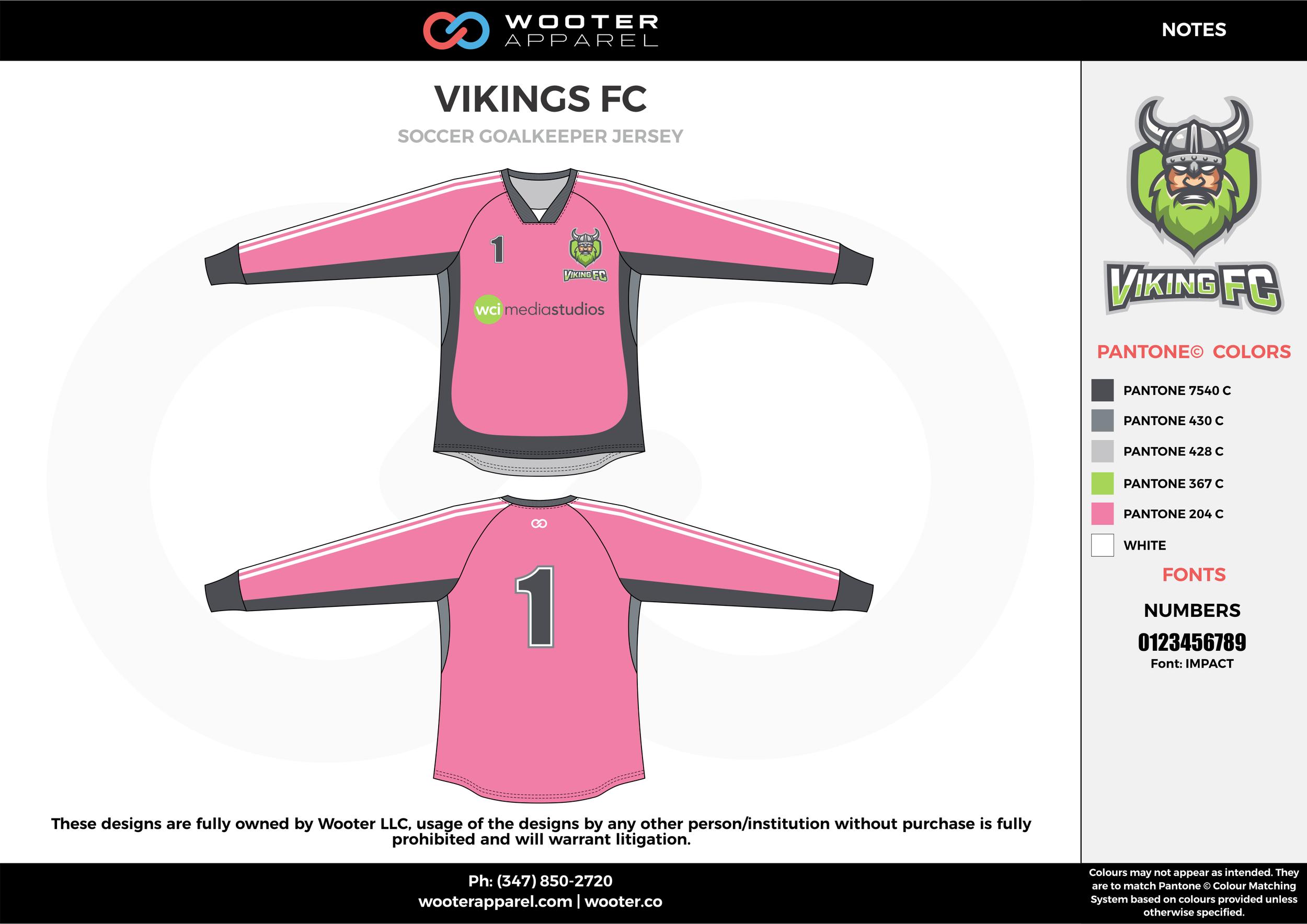 VIKING FC pink gray white custom sublimated soccer uniform jersey sweatshirt