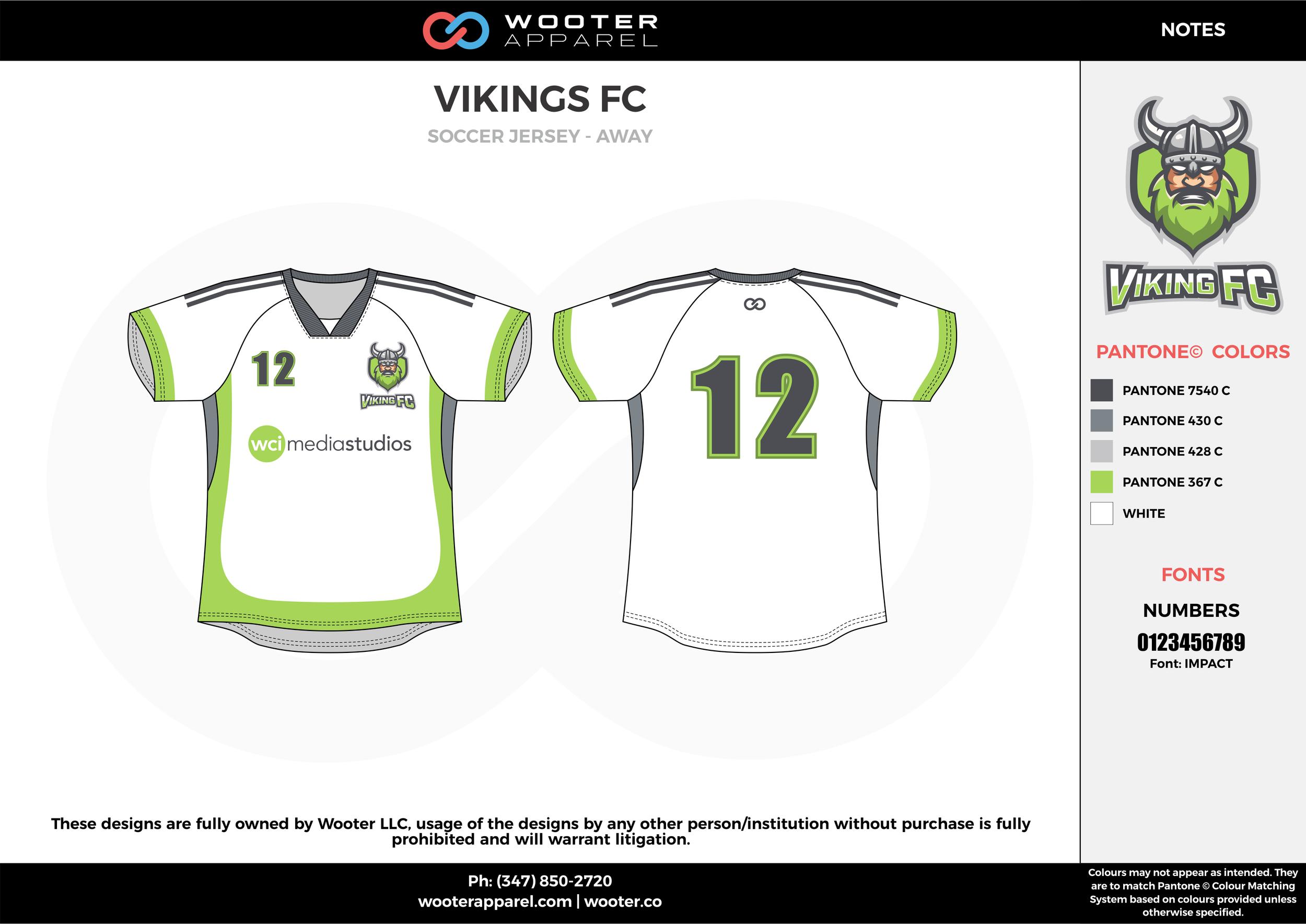 VIKINGS FC gray white green custom sublimated soccer uniform jersey shirt