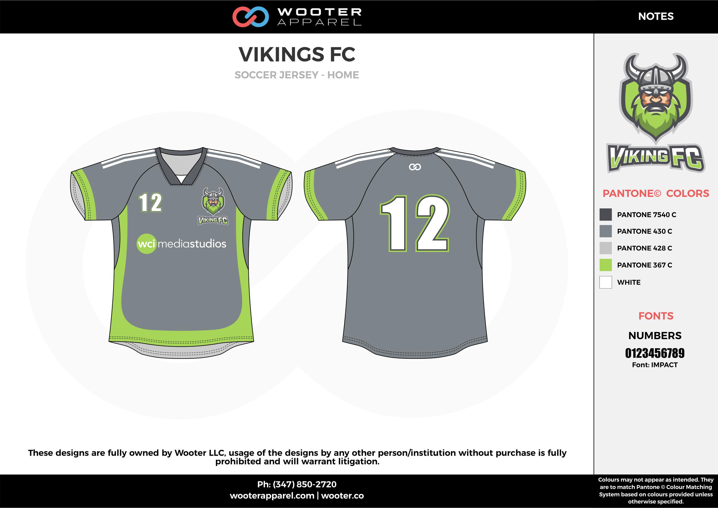 VIKINGS FC gray green white custom sublimated soccer uniform jersey shirt