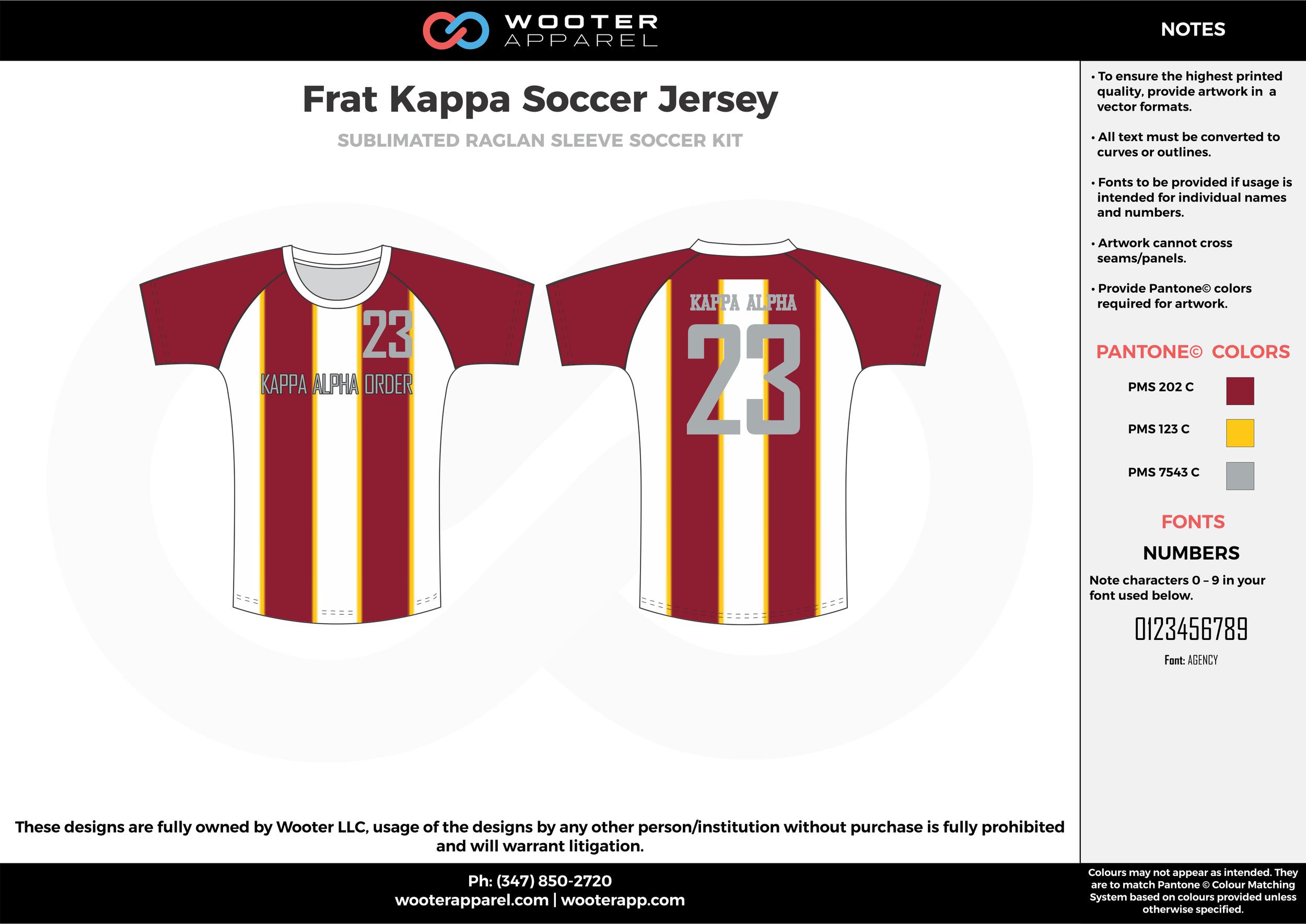 Frat Kappa maroon yellow white custom sublimated soccer uniform jersey shirt