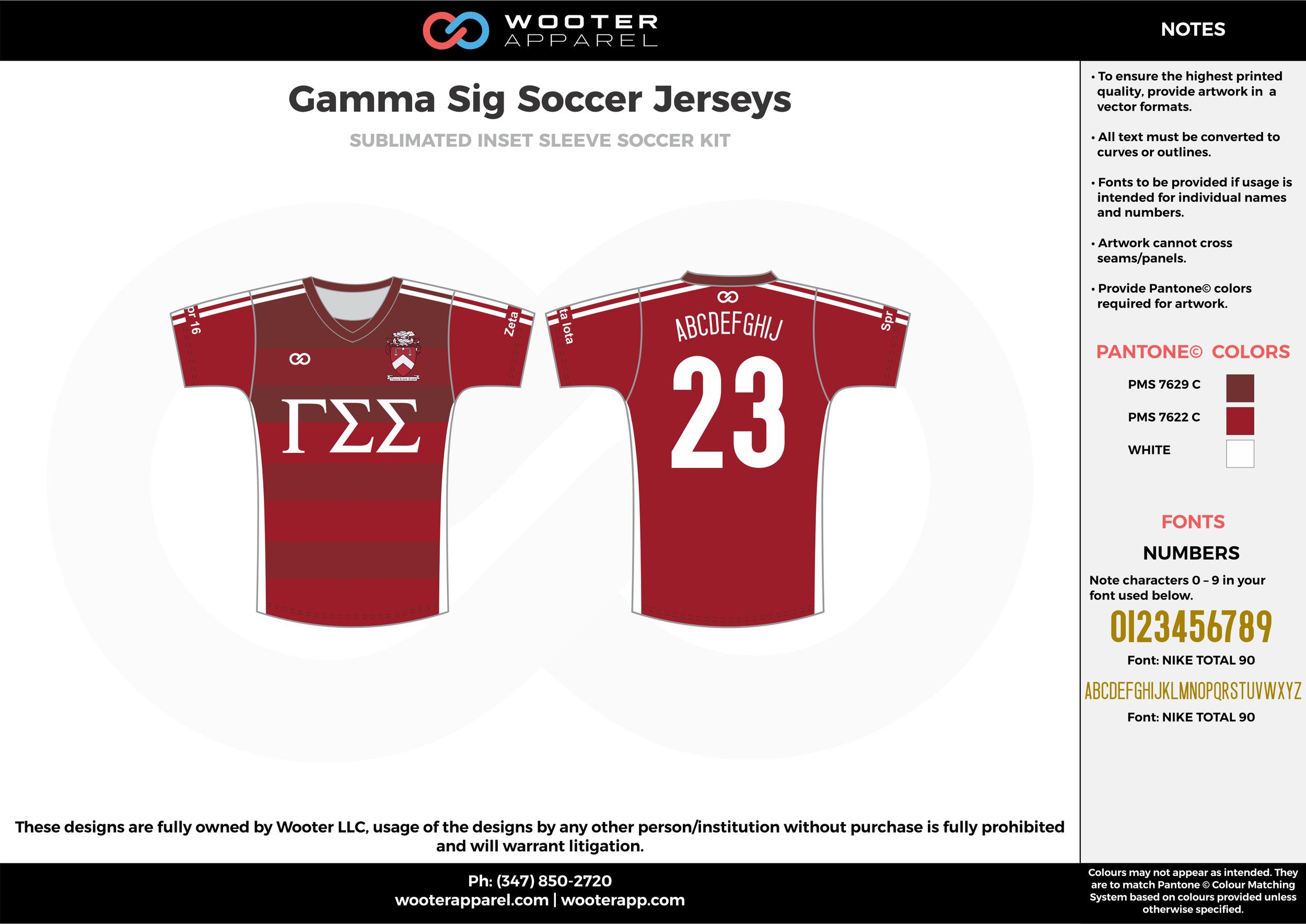 Gamma Sig maroon white custom sublimated soccer uniform jersey shirt