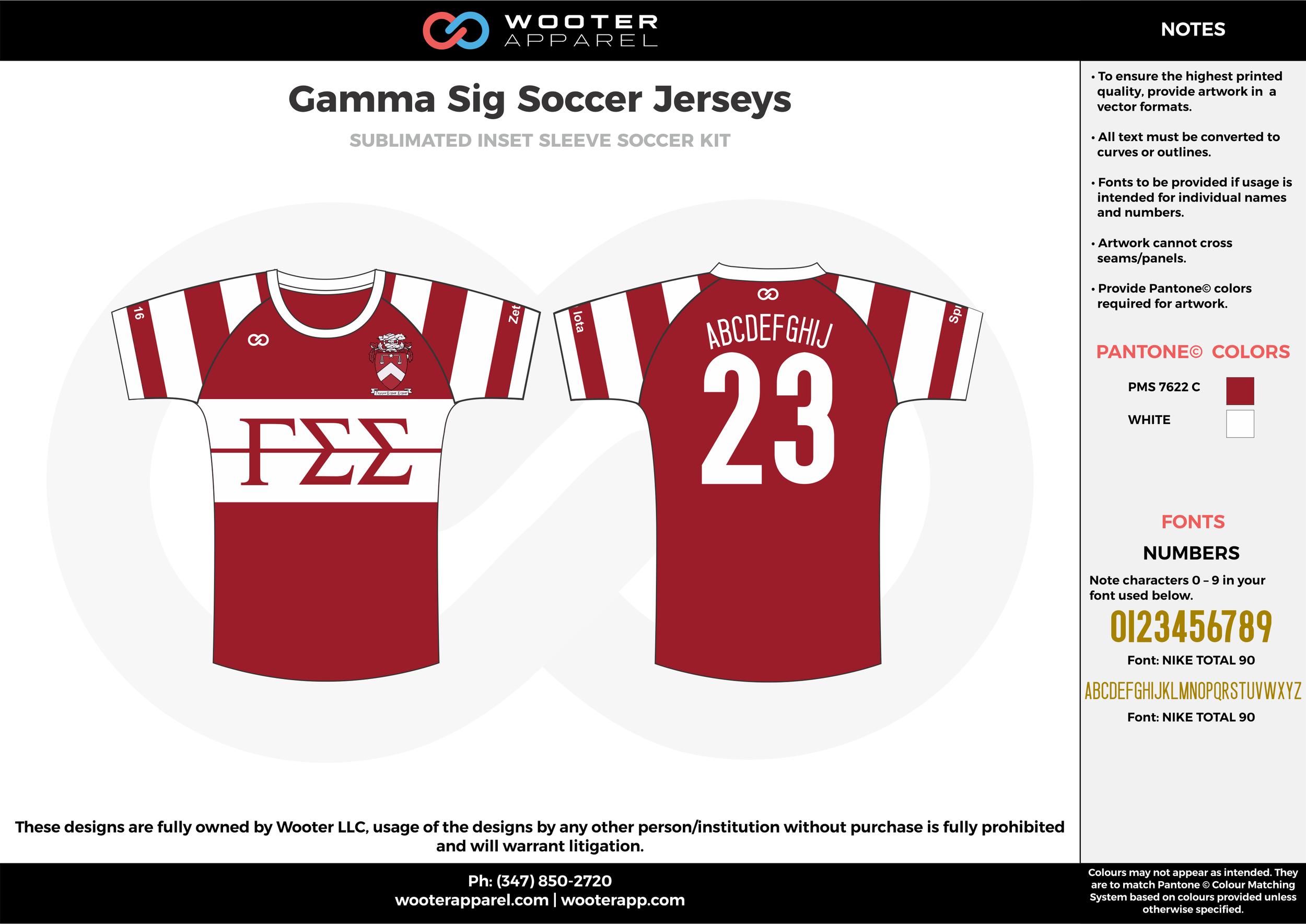 Gamma Sig white maroon custom sublimated soccer uniform jersey shirt