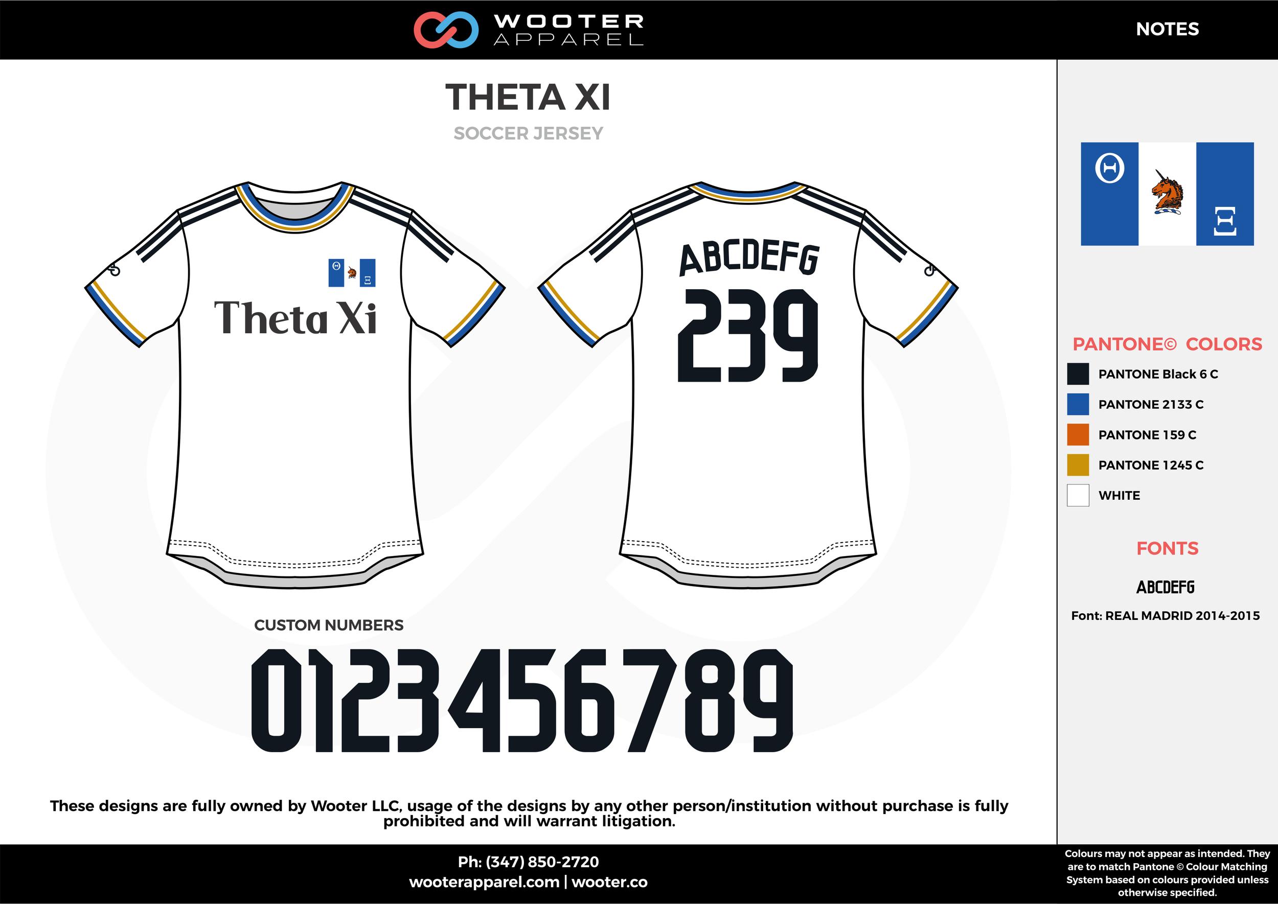 THETA XI white black blue yellow custom sublimated soccer uniform jersey shirt