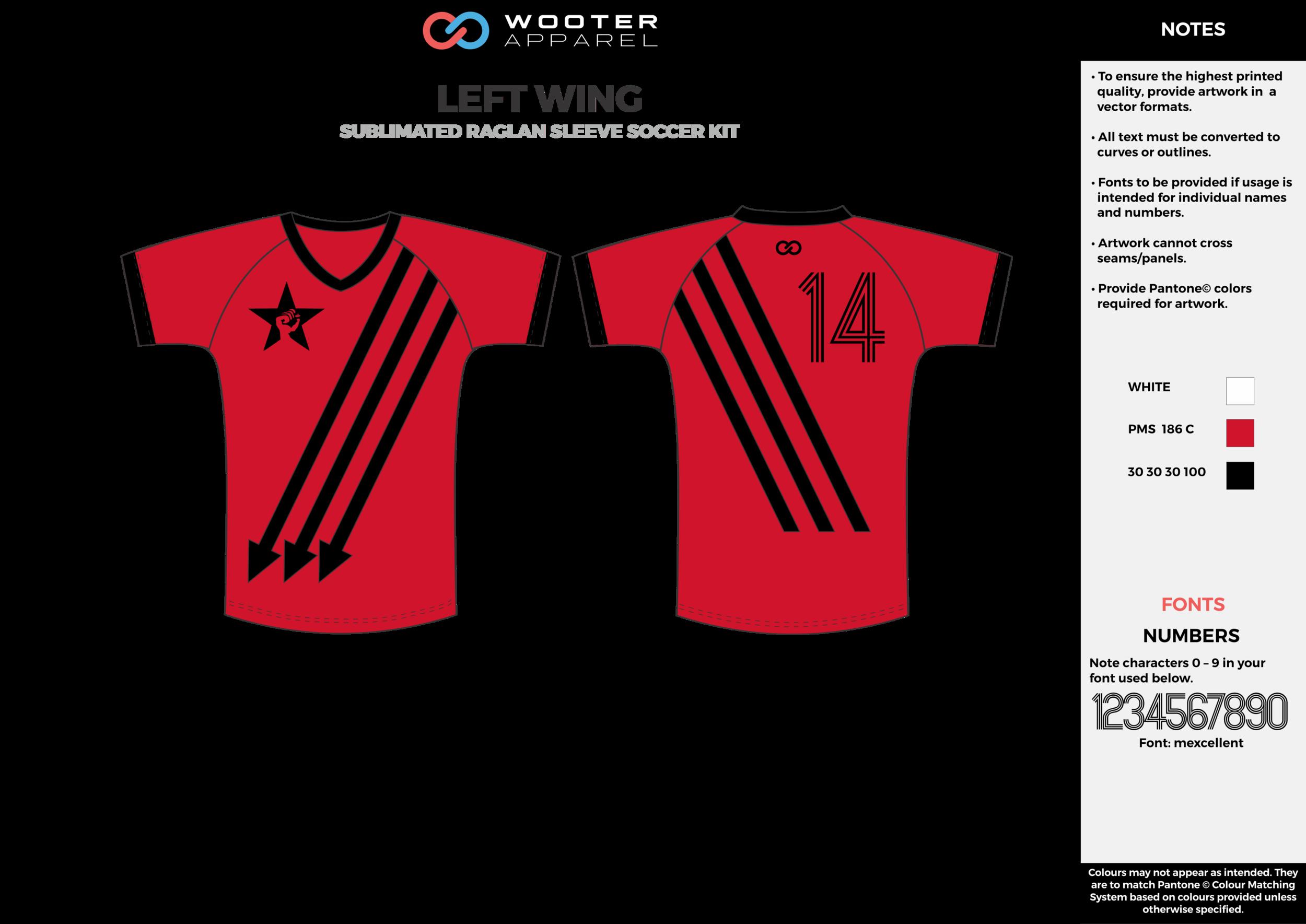 LEFT WING red black custom sublimated soccer uniform jersey shirt