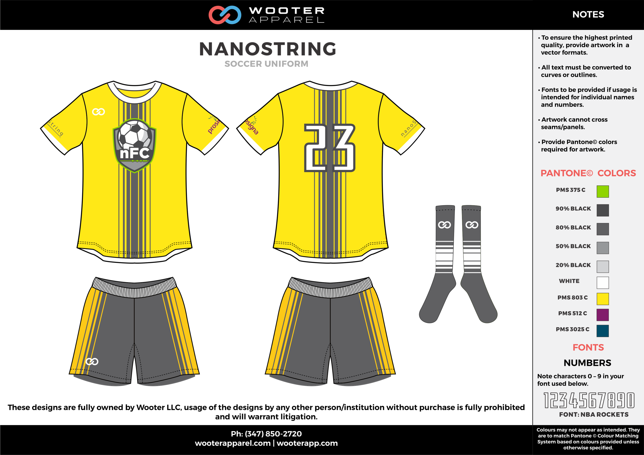 NANOSTRING yellow gray white custom sublimated soccer uniform jersey shirt shorts socks