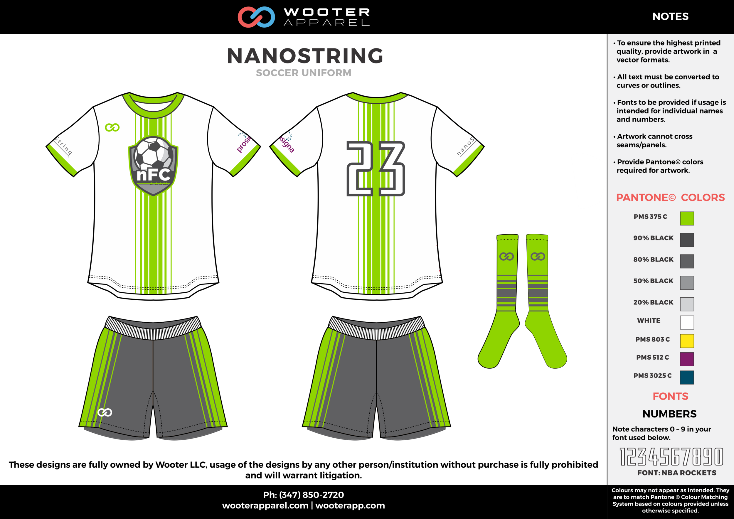NANOSTRING white green gray custom sublimated soccer uniform jersey shirt shorts socks