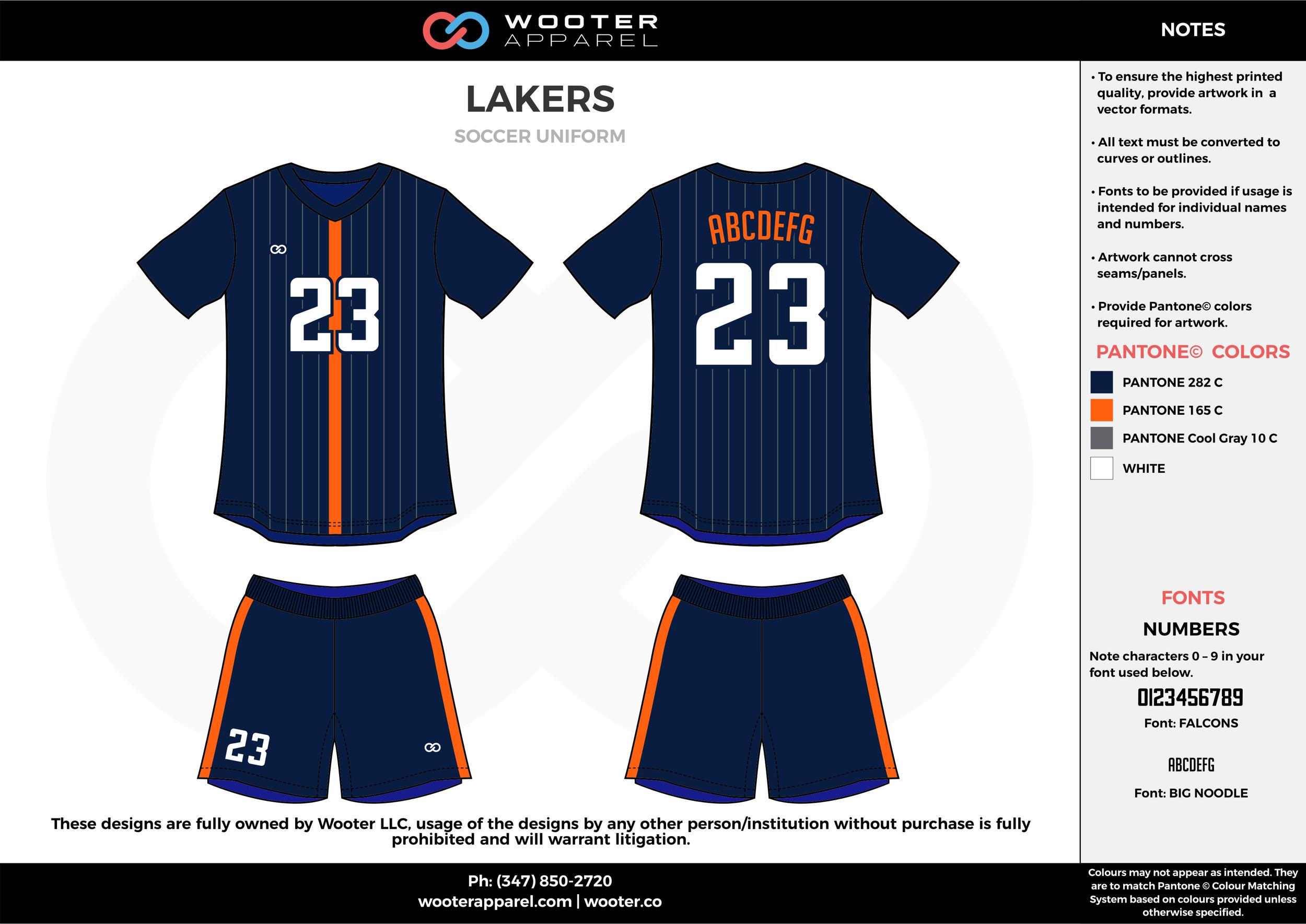 LAKERS blue orange white custom sublimated soccer uniform jersey shirt shorts
