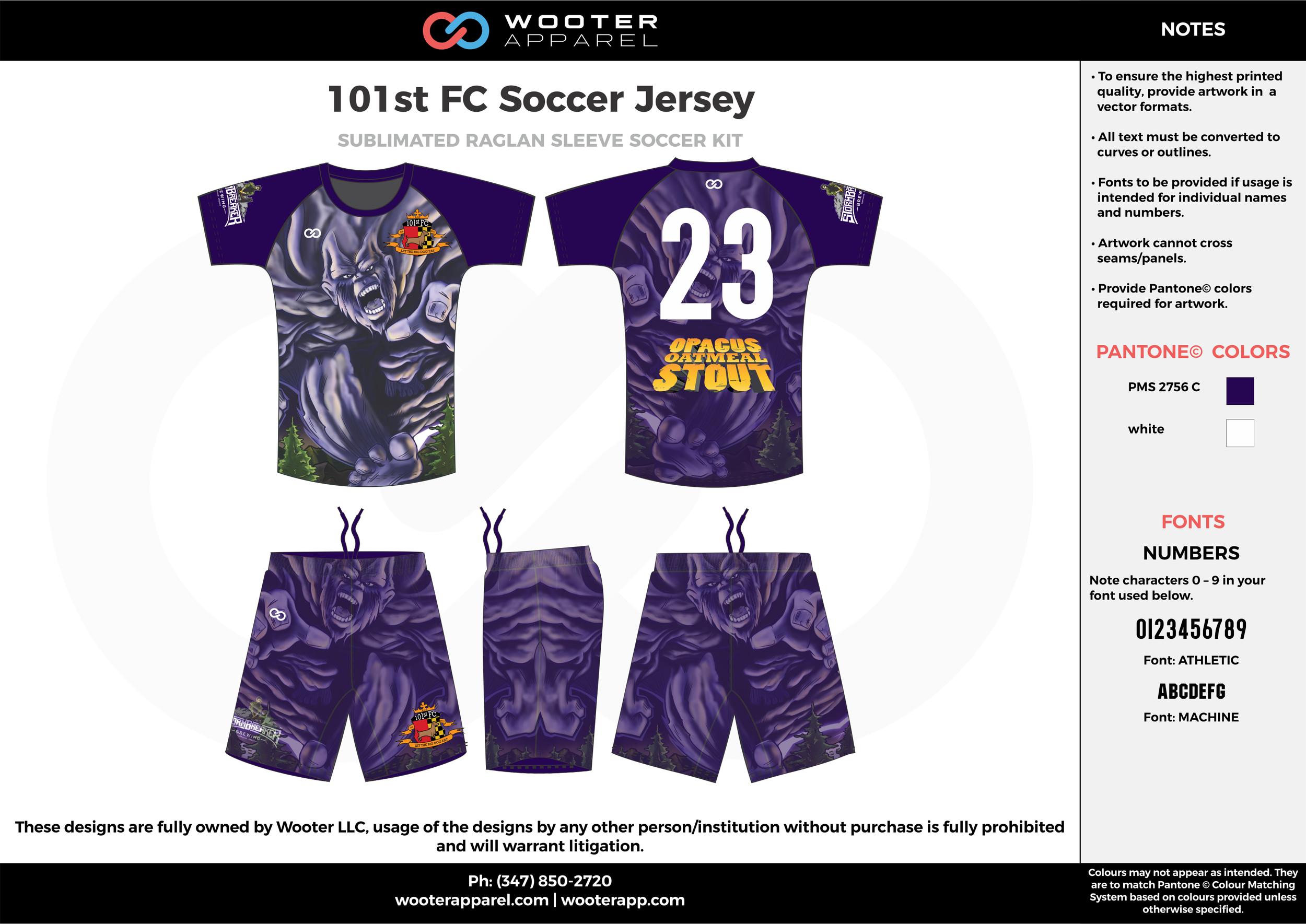 101st FC violet white custom sublimated soccer uniform jersey shirt shorts