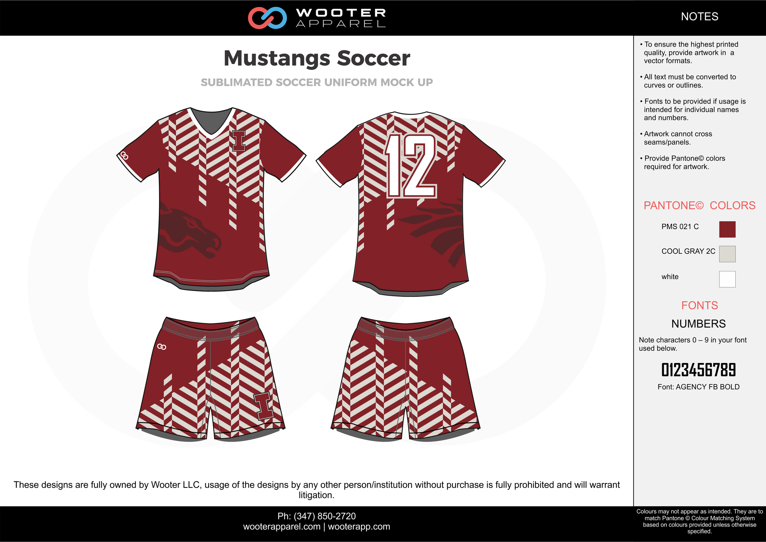 Mustangs Soccer maroon white custom sublimated soccer uniform jersey shirt shorts