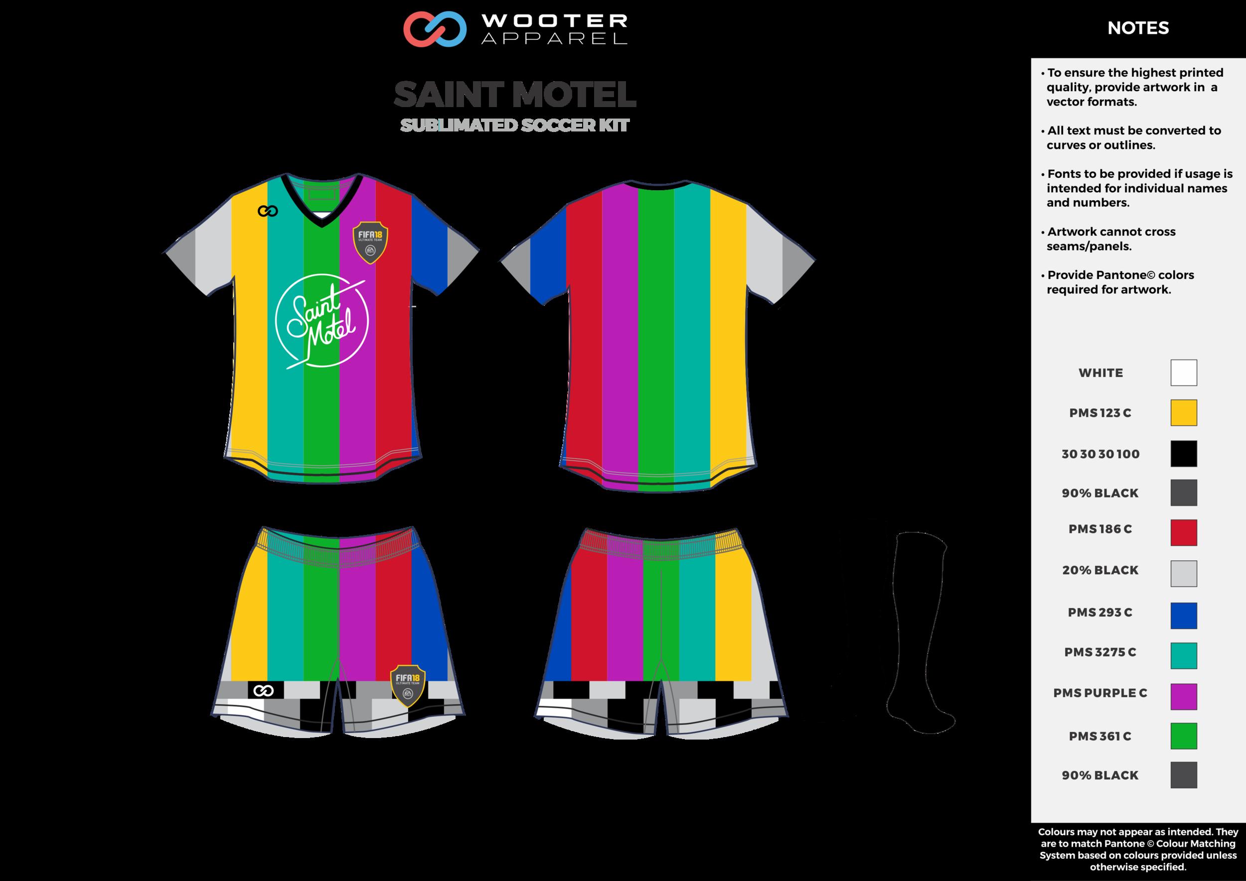 SAINT MOTEL rainbow color custom sublimated soccer uniform jersey shirt shorts socks