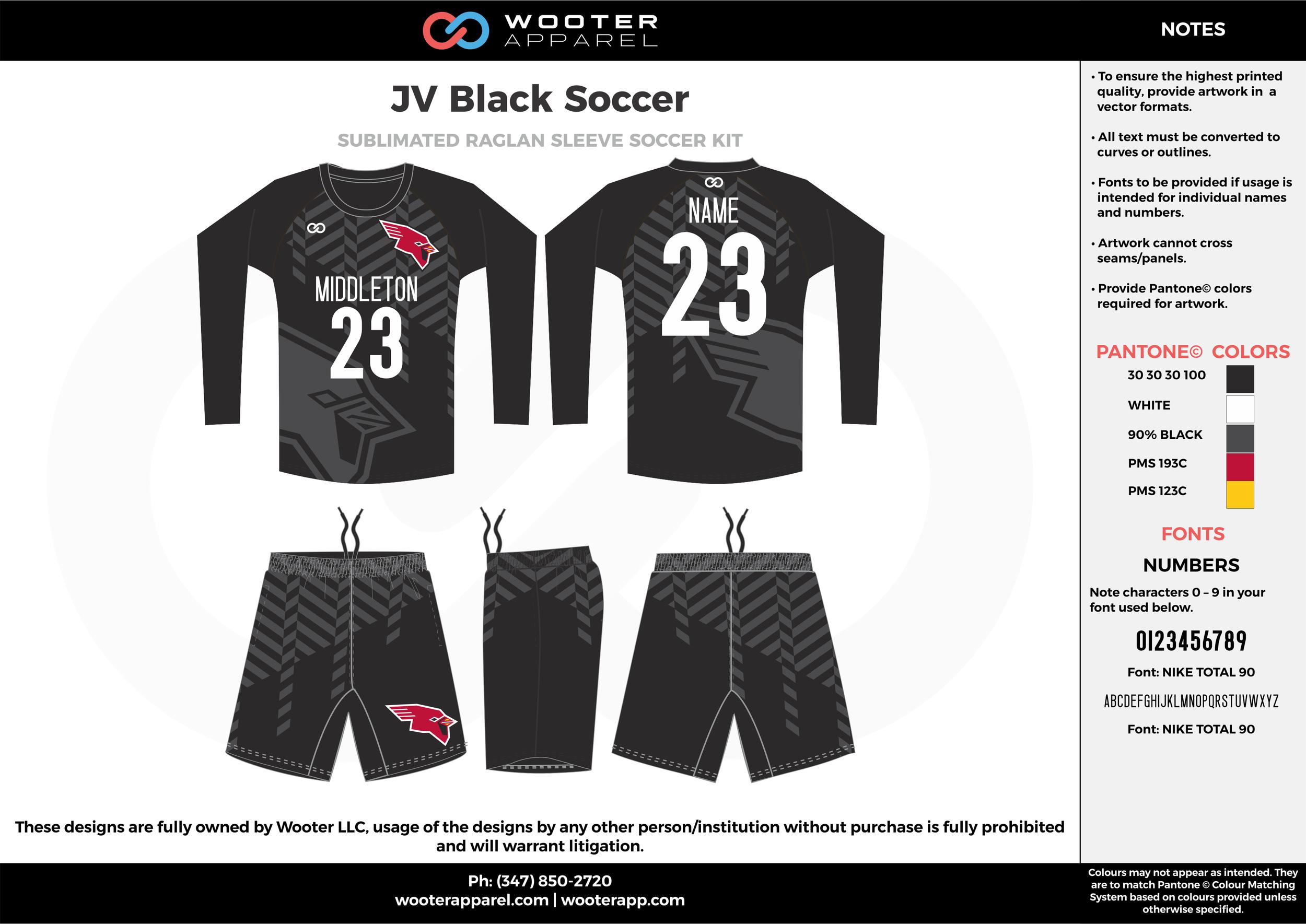 JV Black black gray white custom sublimated soccer uniform jersey sweatshirt shorts