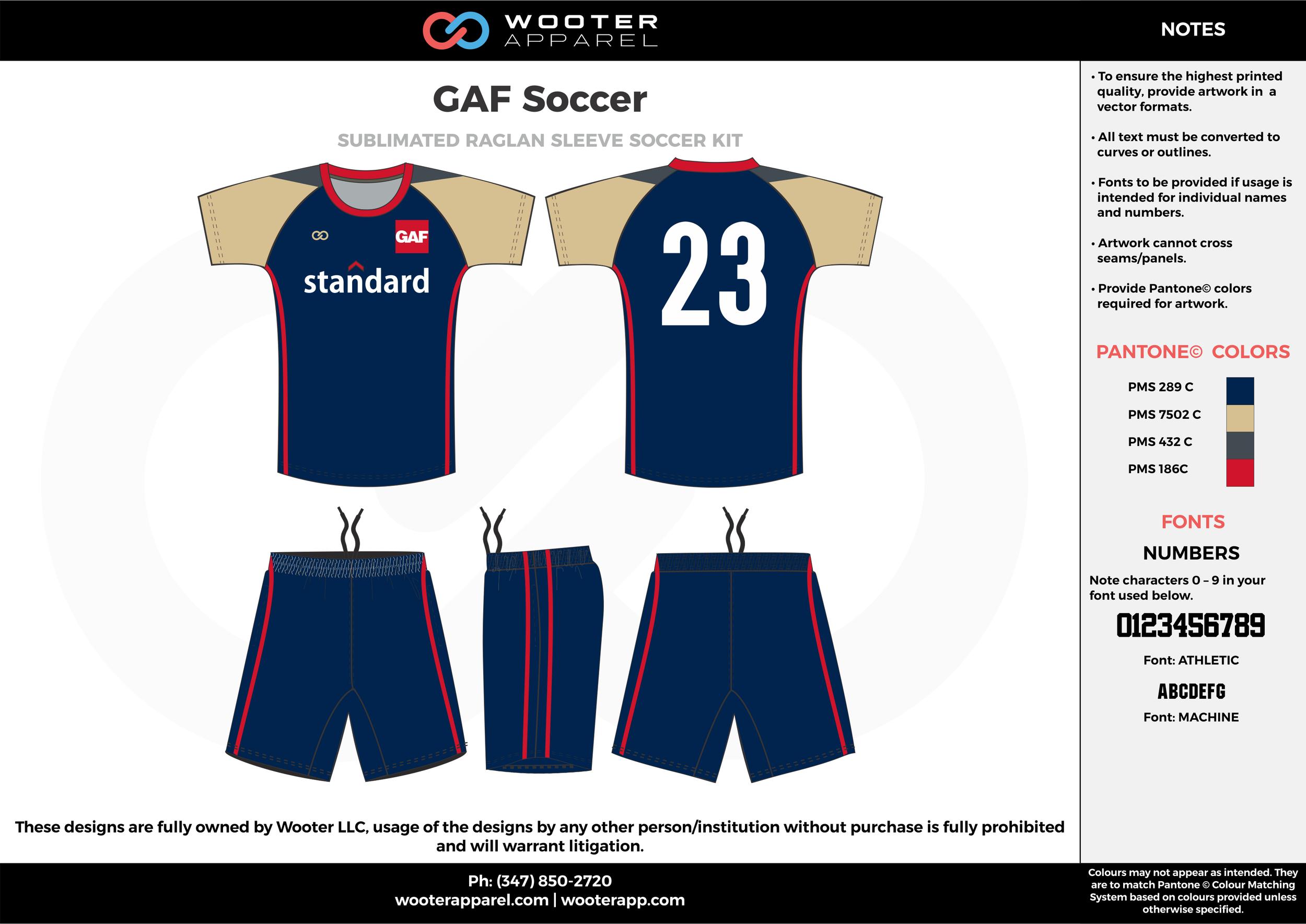 GAF Soccer beige blue red custom sublimated soccer uniform jersey shirt shorts