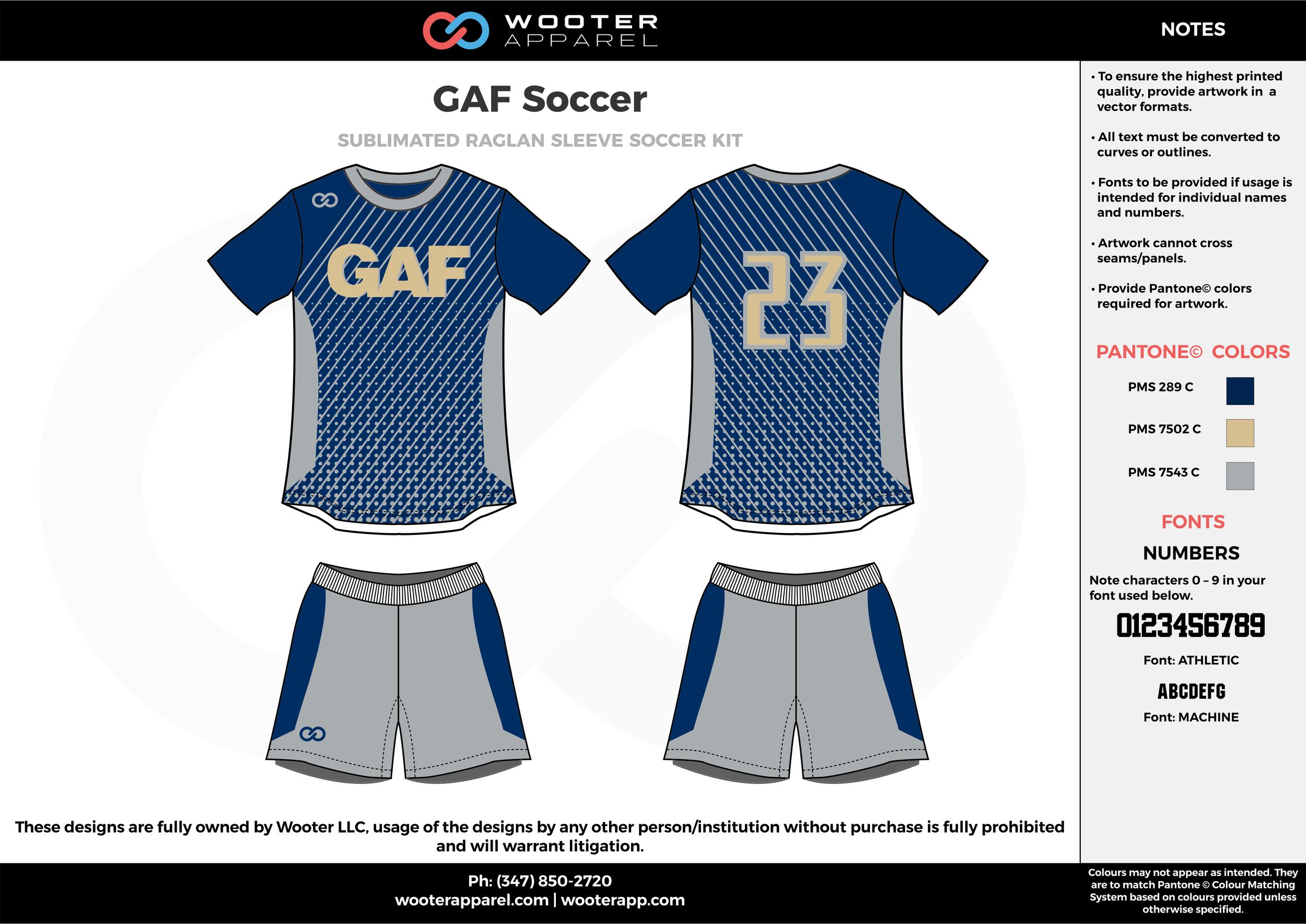 GAF Soccer navy blue gray beige custom sublimated soccer uniform jersey shirt shorts