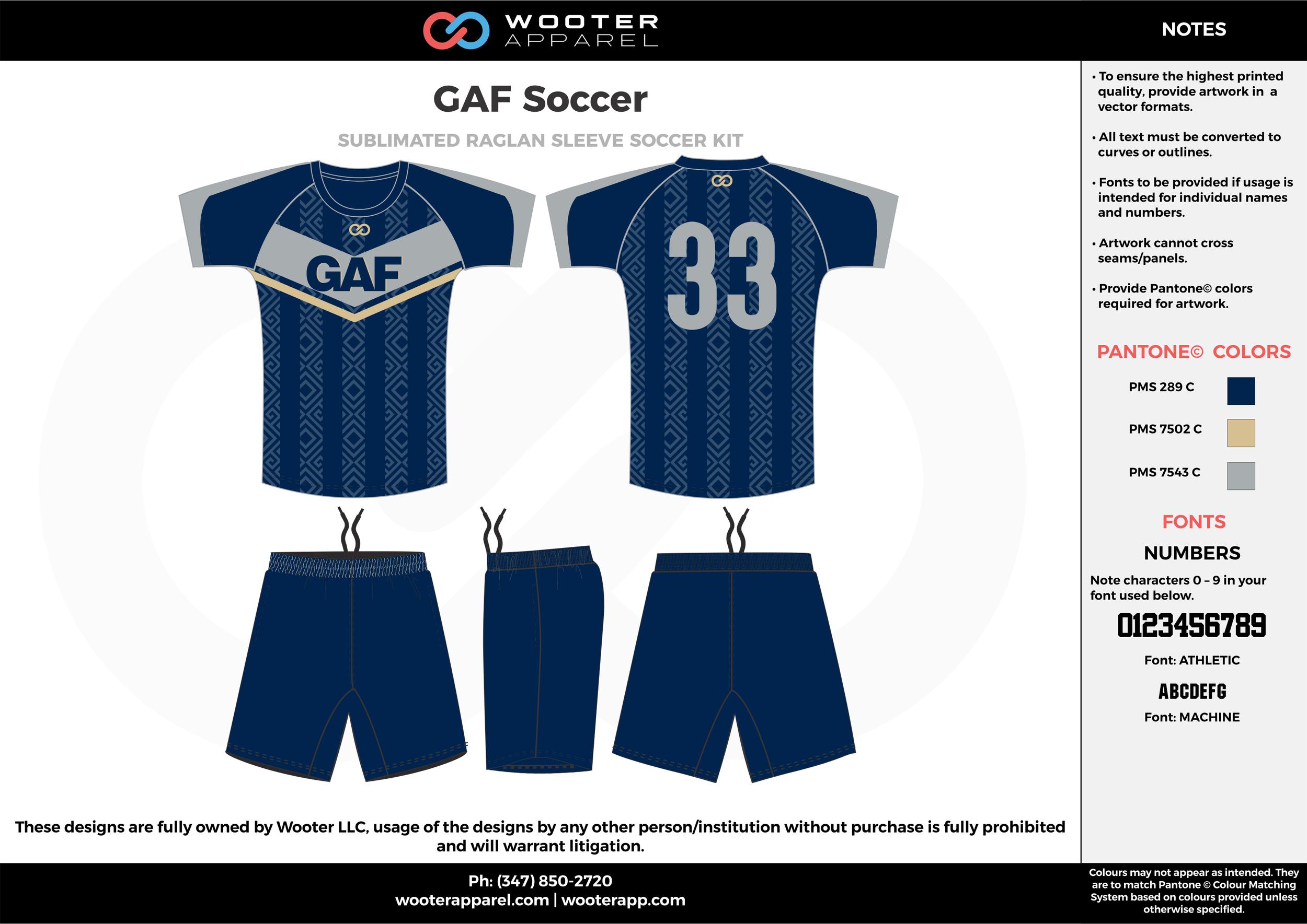 GAF navy blue gray custom sublimated soccer uniform jersey shirt shorts