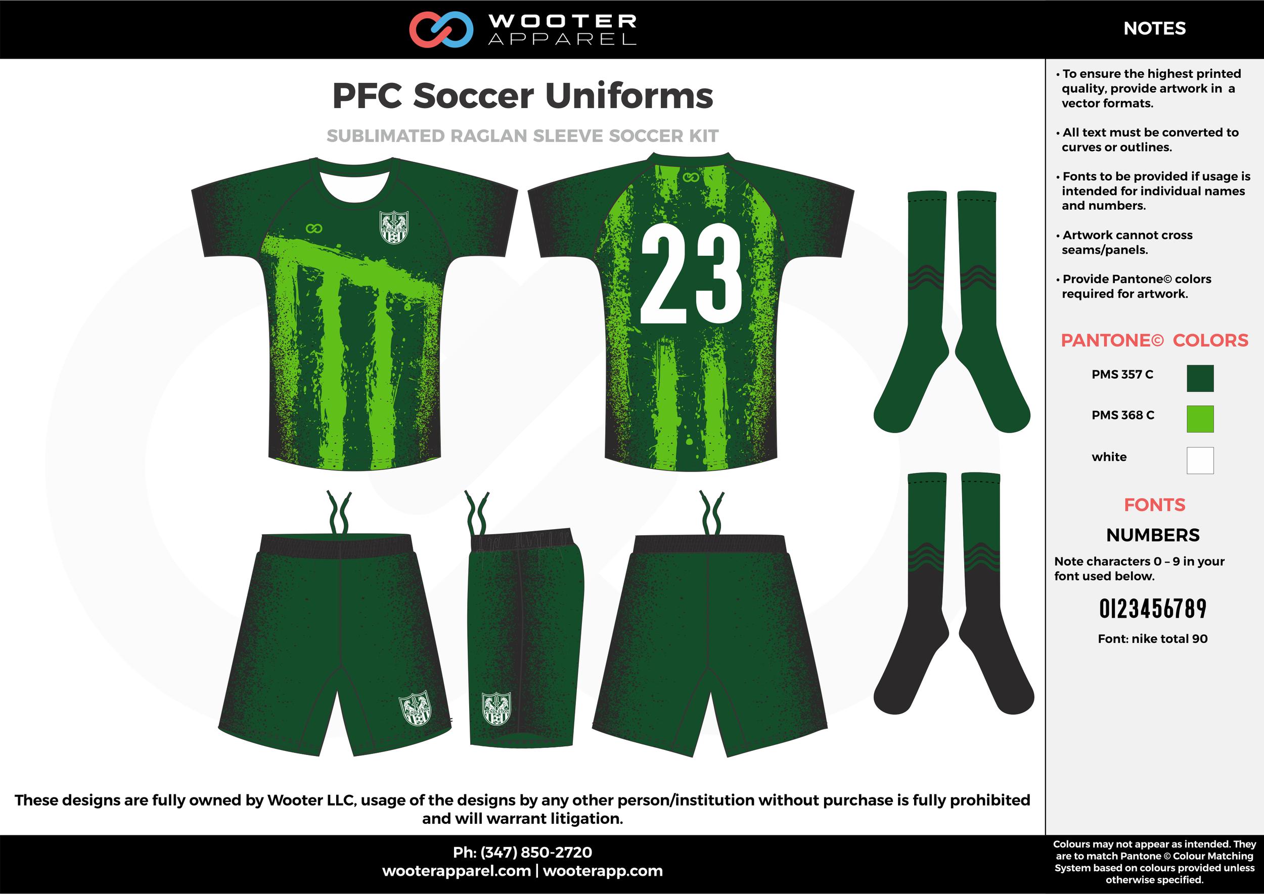 PFC green white custom sublimated soccer uniform jersey shirt shorts socks