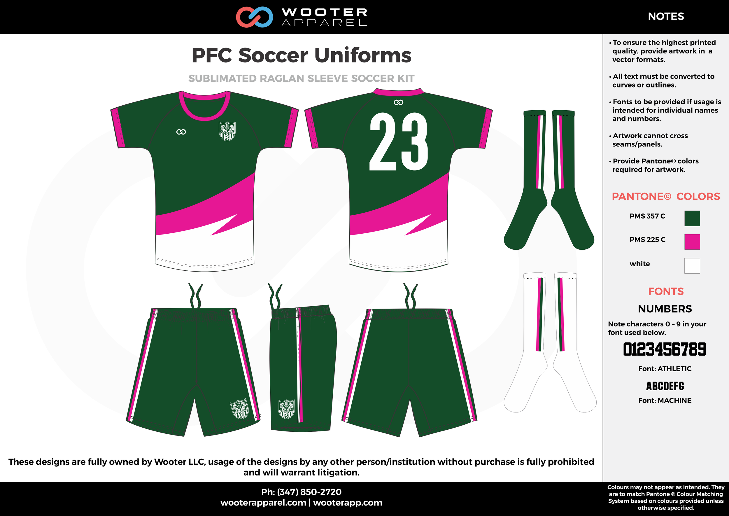 PFC green pink white custom sublimated soccer uniform jersey shirt shorts socks