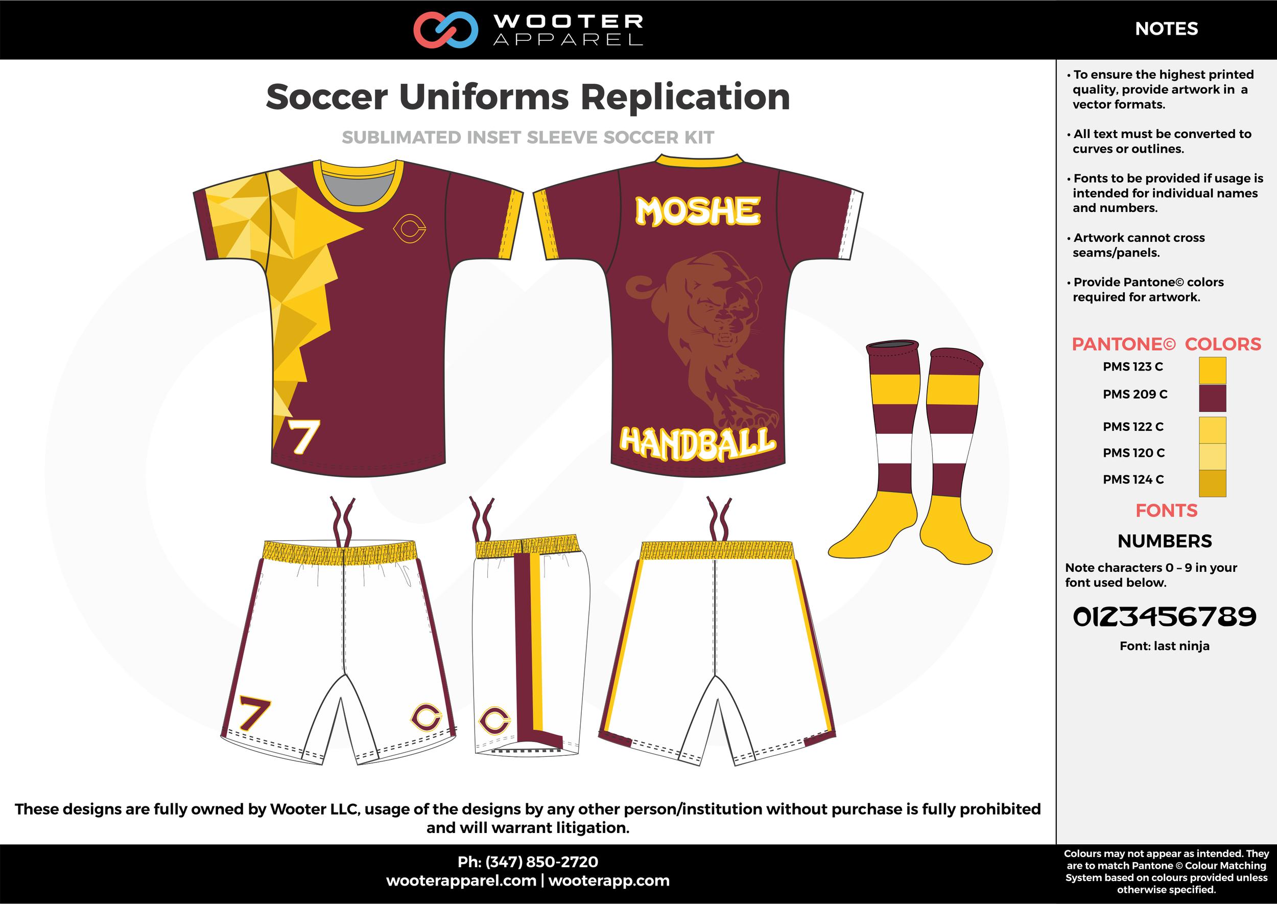 Soccer Uniforms Replication maroon yellow custom sublimated soccer uniform jersey shirt shorts socks