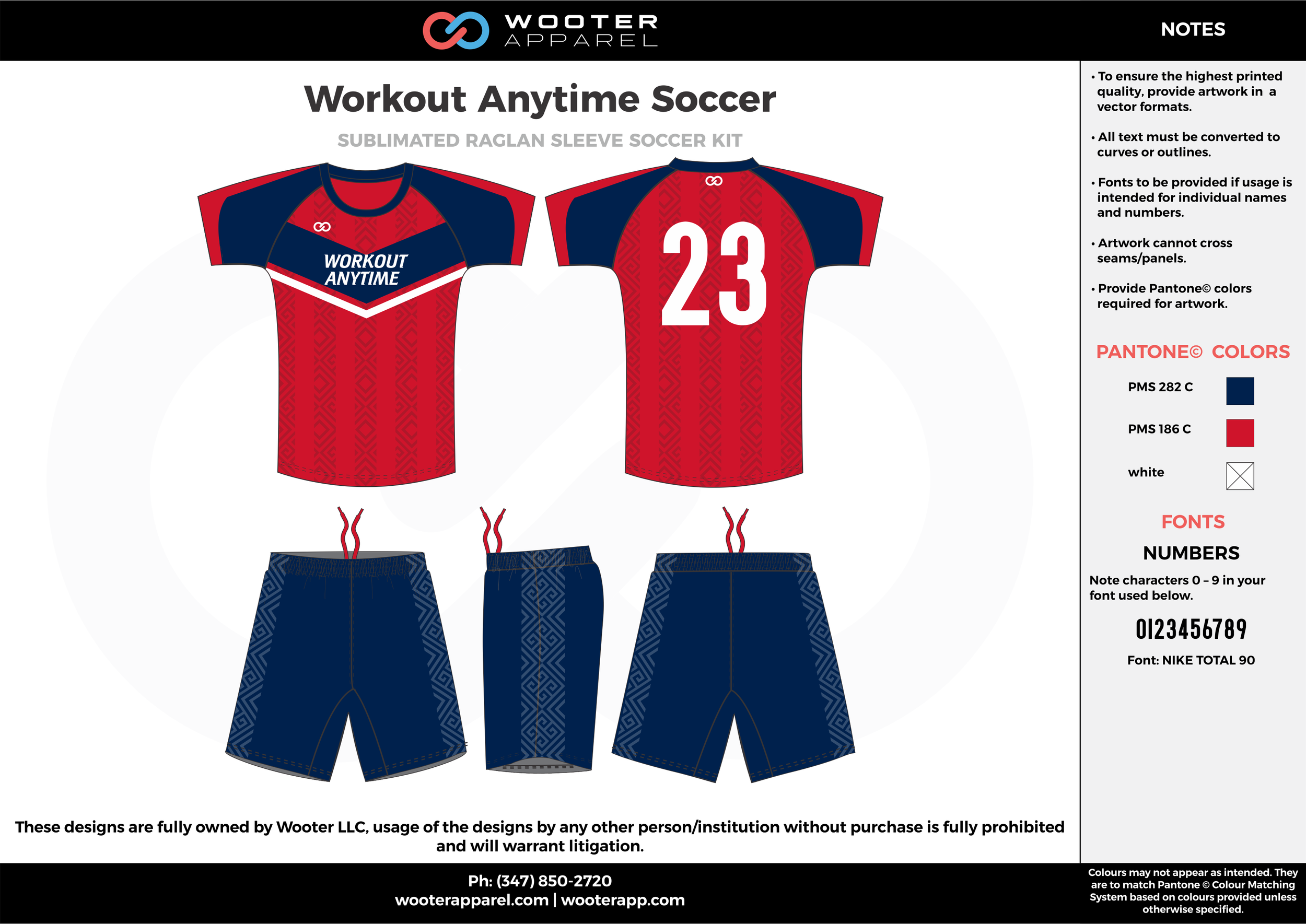 Workout Anytime red blue custom sublimated soccer uniform jersey shirt shorts