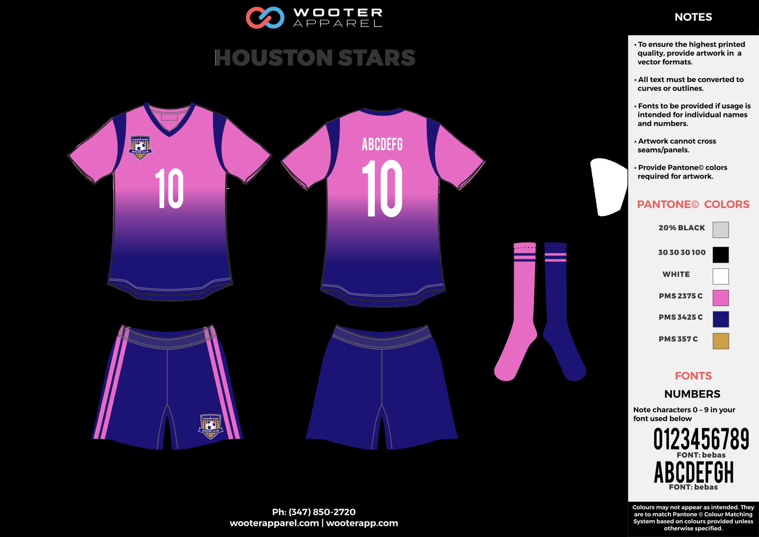 HOUSTON STARS pink blue white custom sublimated soccer uniform jersey shirt shorts socks
