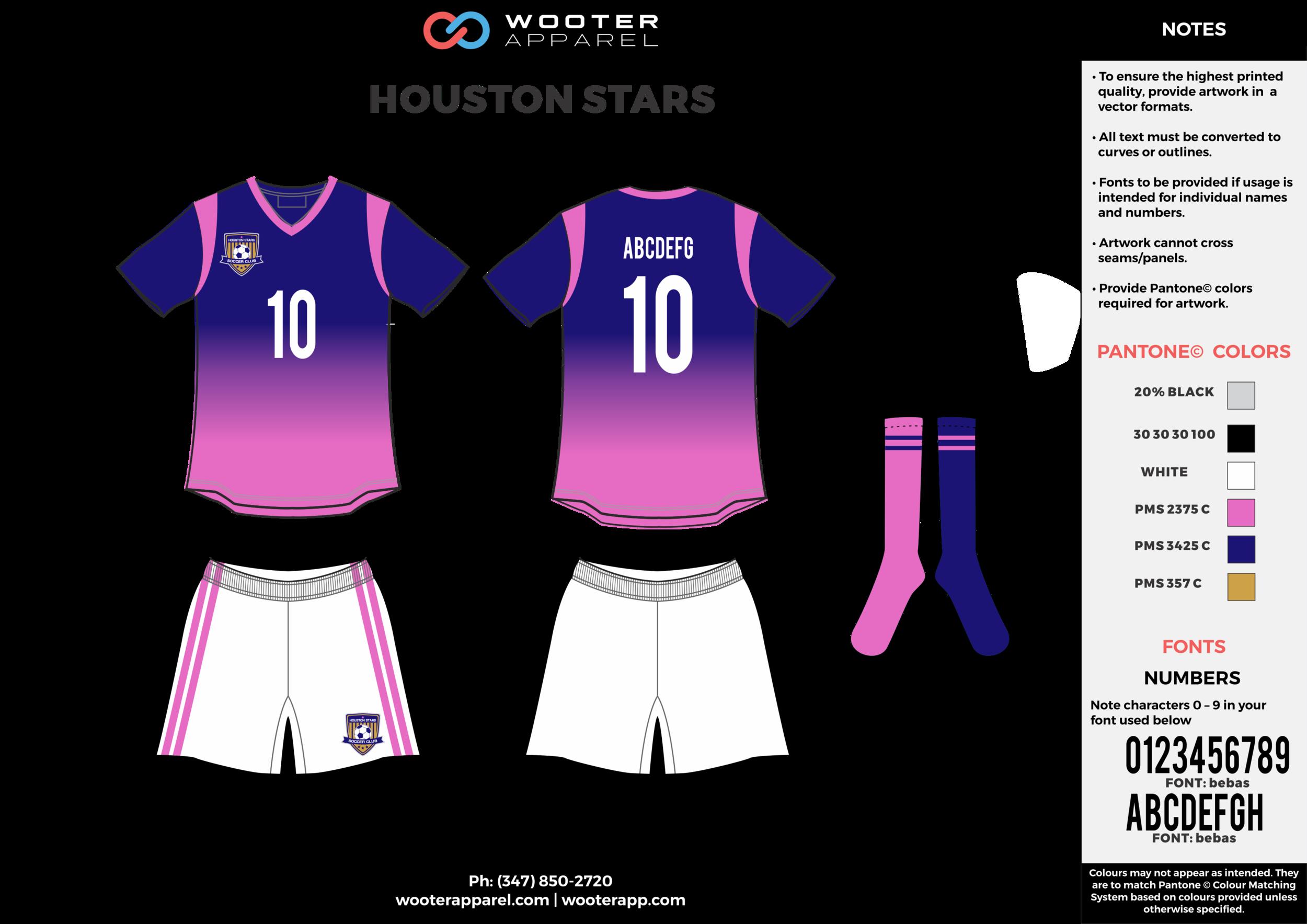 HOUSTON STARS white blue pink custom sublimated soccer uniform jersey shirt shorts socks