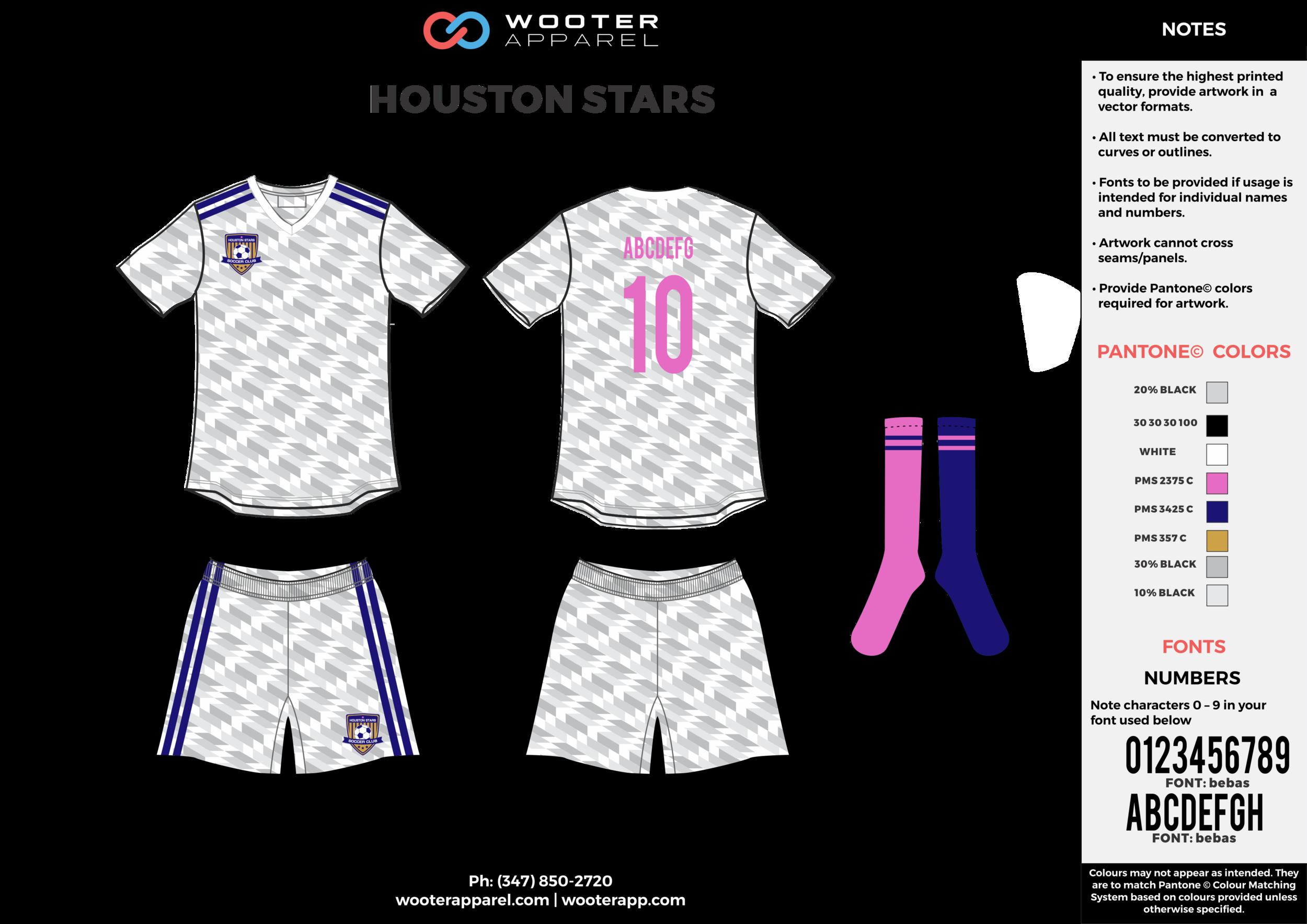 HOUSTON STARS white gray pink blue custom sublimated soccer uniform jersey shirt shorts socks