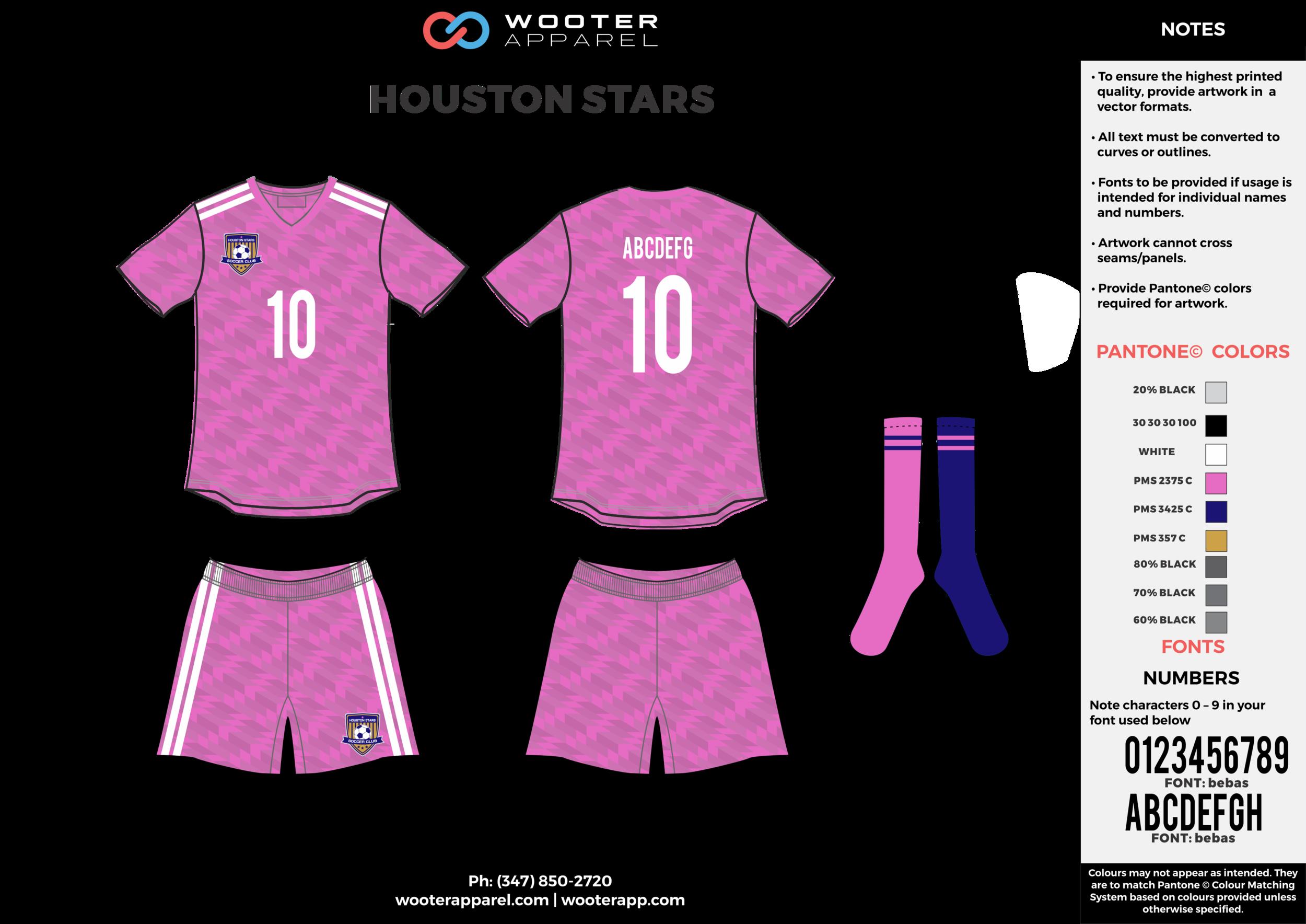 HOUSTON STARS pink white gray custom sublimated soccer uniform jersey shirt shorts socks