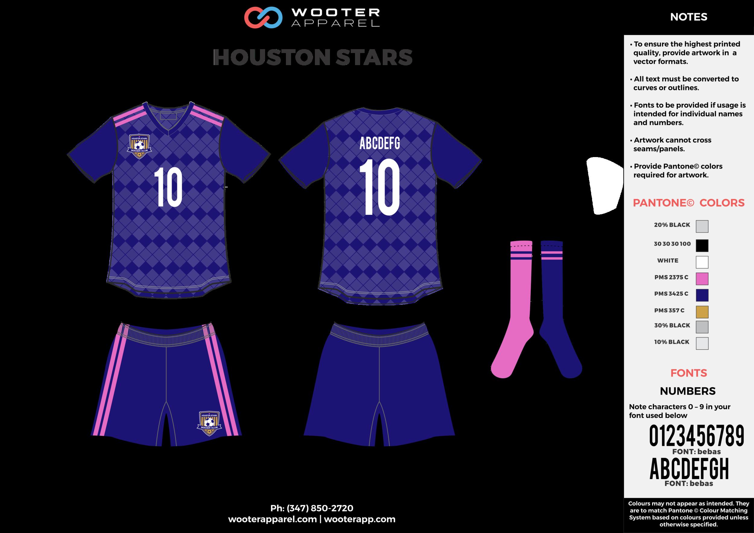 HOUSTON STARS blue gray pink custom sublimated soccer uniform jersey shirt shorts socks